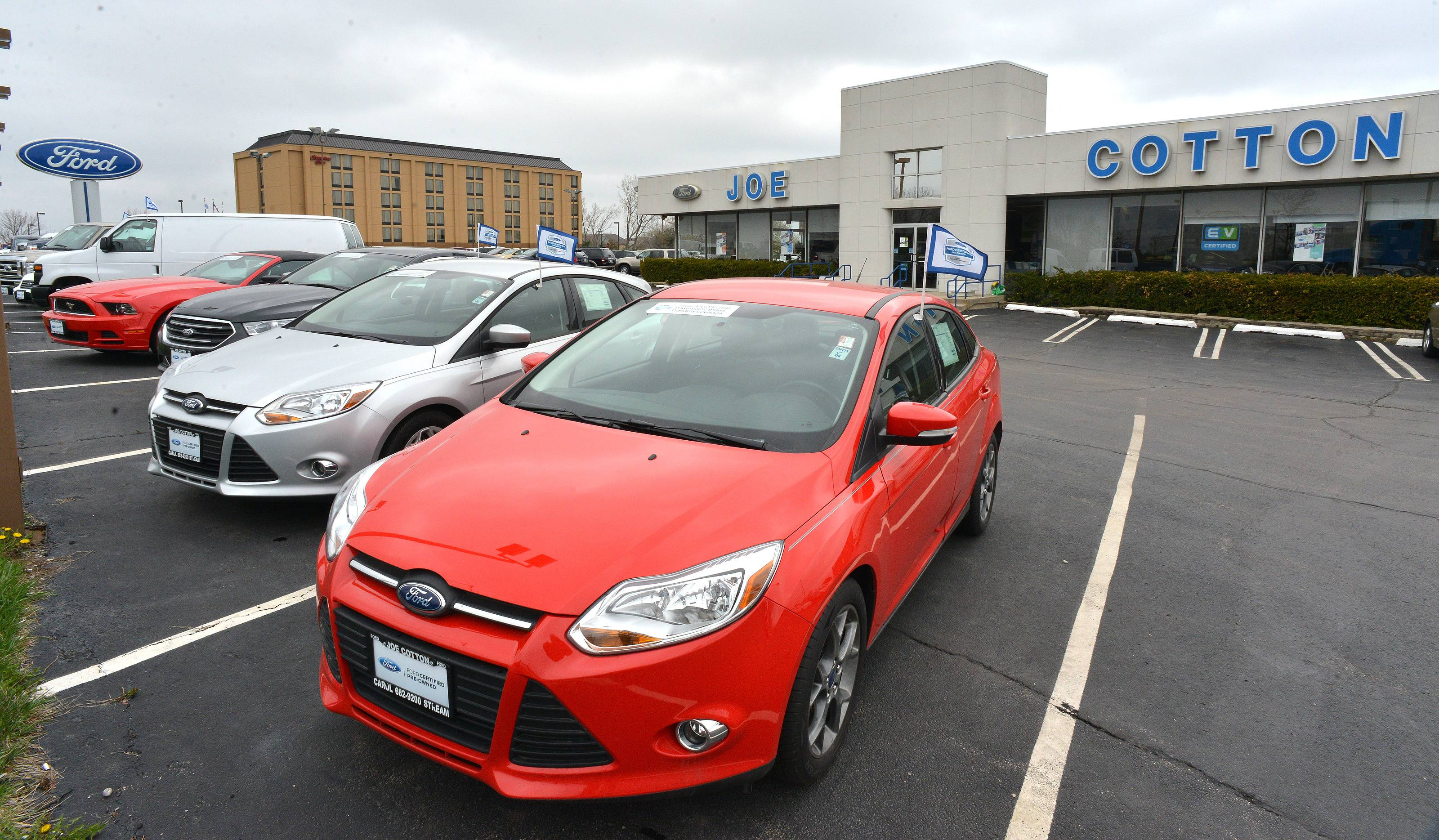 Used cars on display at Joe Cotton Ford in Carol Stream.