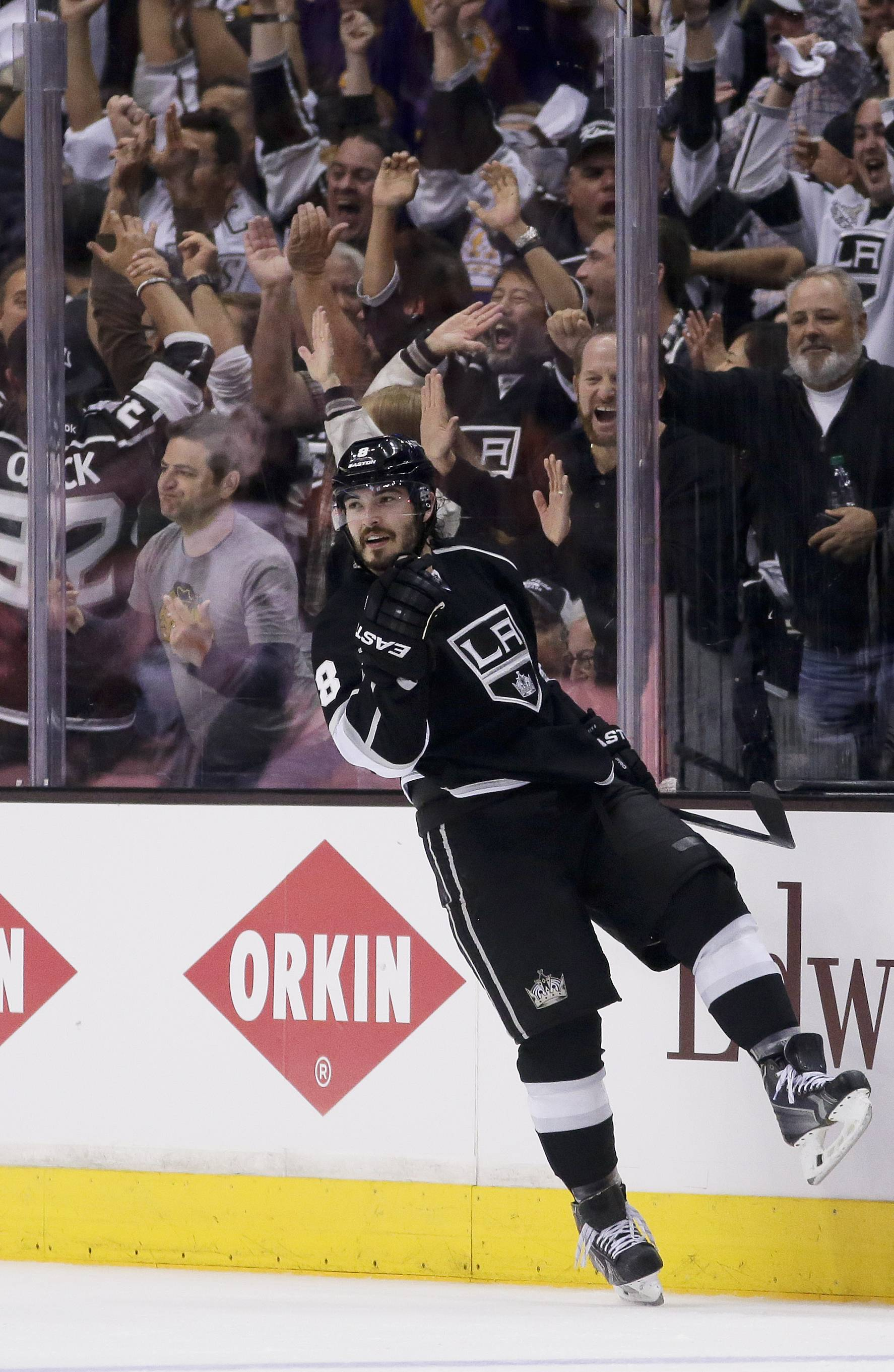 Los Angeles Kings defenseman Drew Doughty celebrates his goal against the Chicago Blackhawks during the third period of Game 3 of the Western Conference finals of the NHL hockey Stanley Cup playoffs in Los Angeles, Saturday, May 24, 2014.