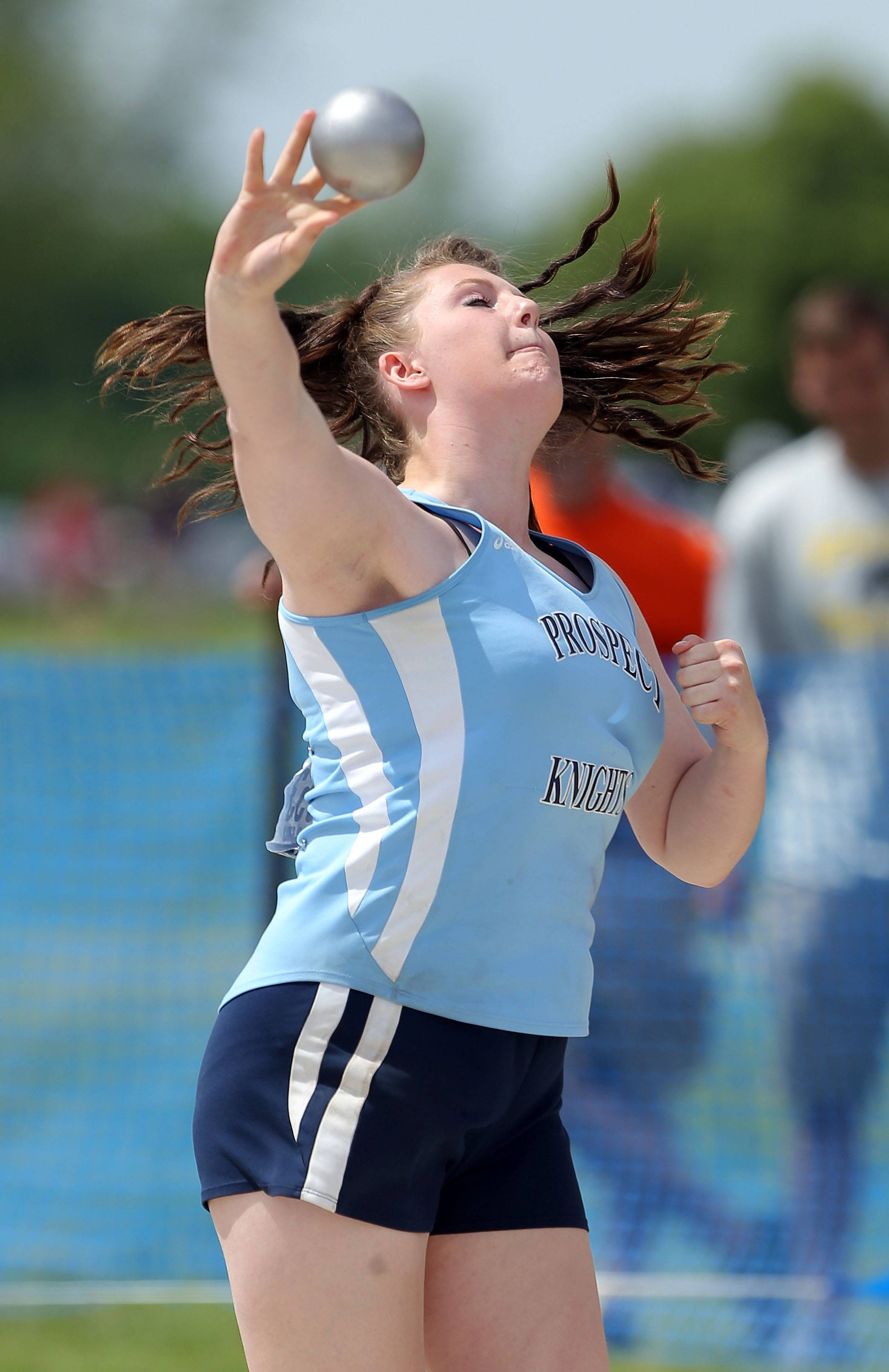 Prospect's Erin Reese competes in the Class 3A shot put during the girls track and field state finals at Eastern Illinois University in Charleston on Saturday.