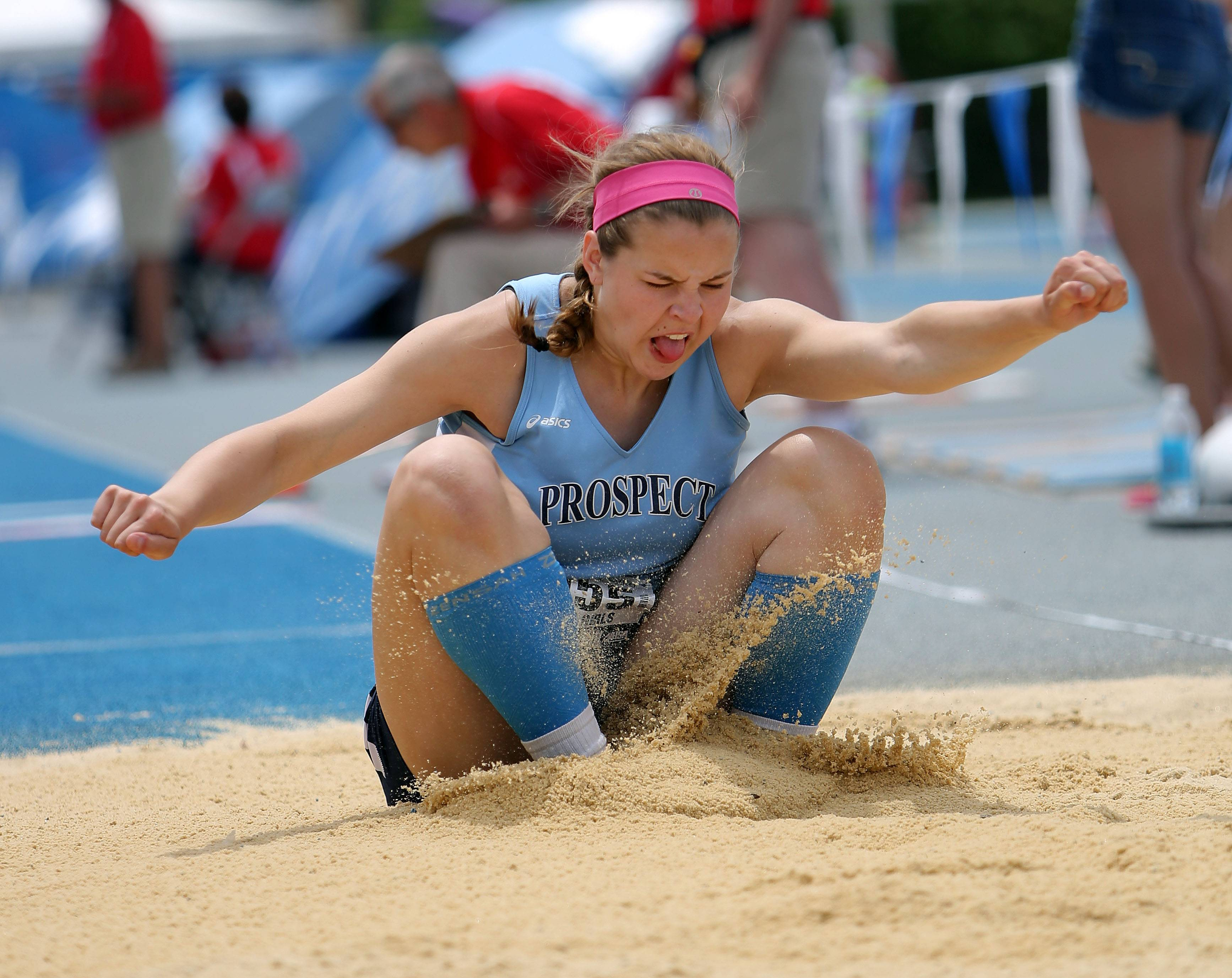 Prospect's Catherine Sherwood competes in the Class 3A triple jump during the girls track and field state finals at Eastern Illinois University in Charleston on Saturday.