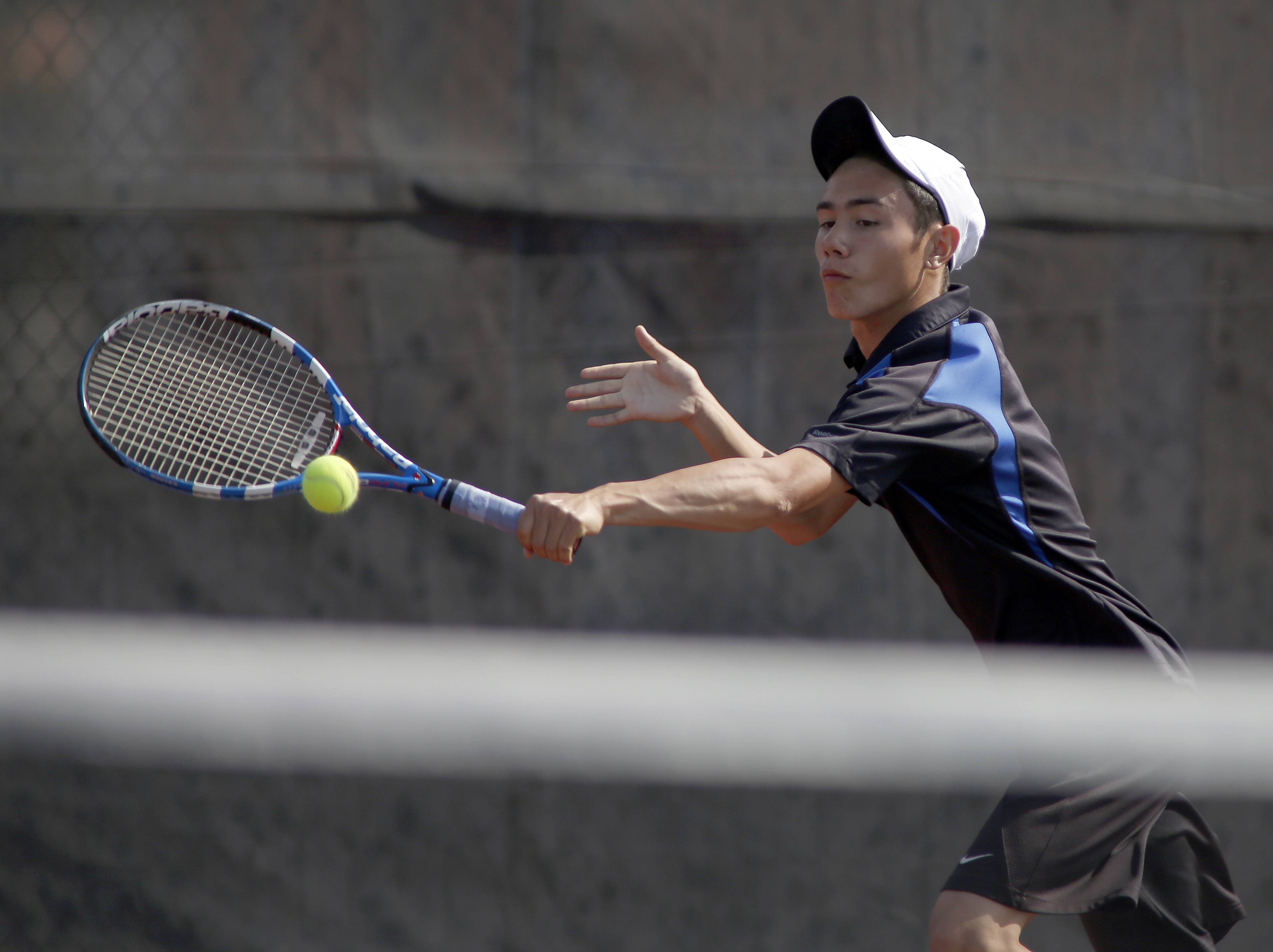 Geneva's Nick Huang returns a volley from Lake Park's Piotr Lada,   during the St. Charles East boys tennis sectional Saturday in St. Charles.