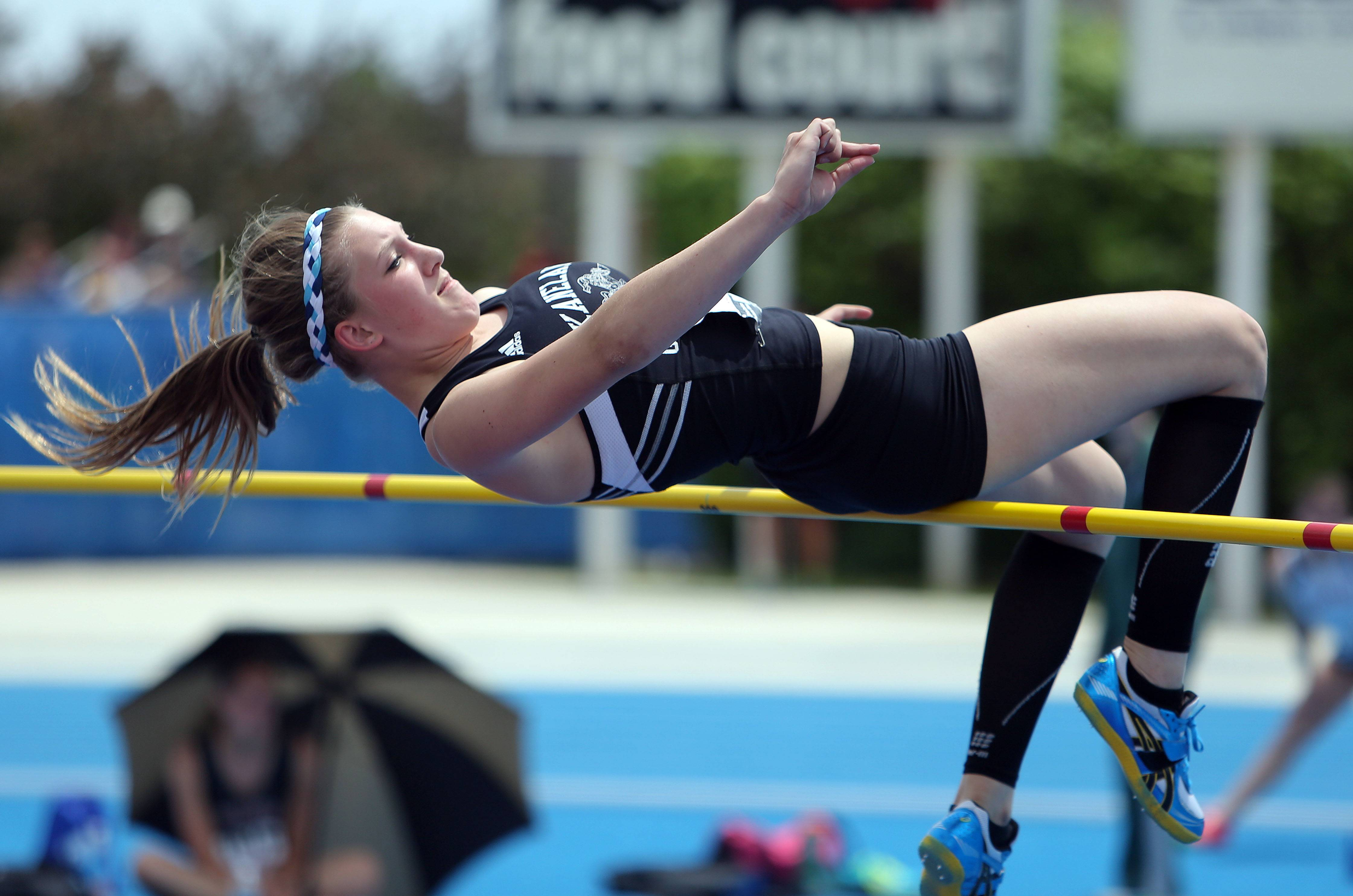 Kaneland's Maddie Keifer competes in the class 2A high jump during the girls track and field state finals at Eastern Illinois University in Charleston Saturday.