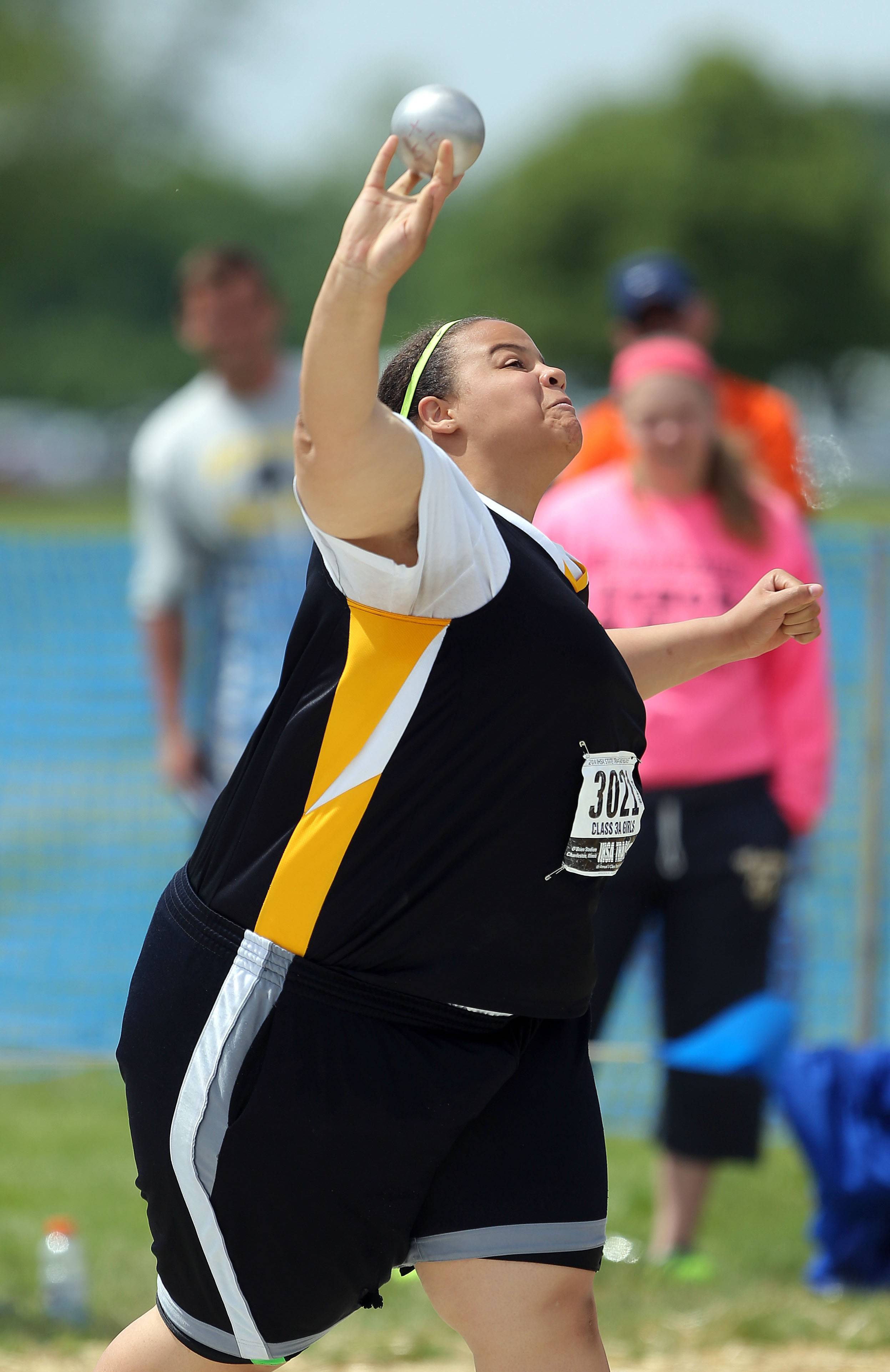 Metea Valley's Courtney Morgan competes in the class 3A shot put during the girls track and field state finals at Eastern Illinois University in Charleston Saturday.