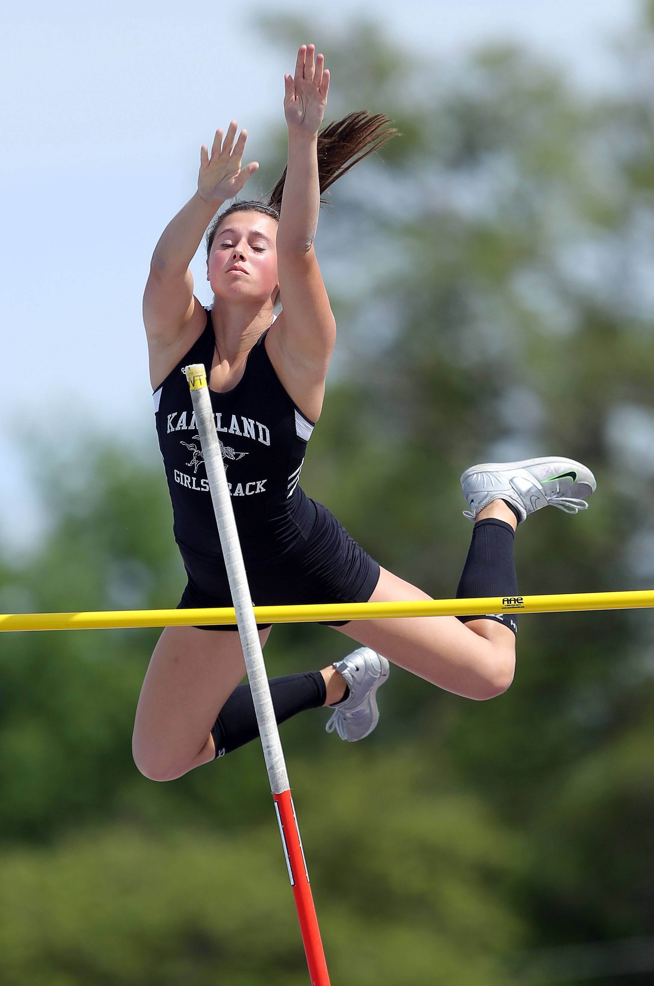 Kaneland's Christina Delach competes in the class 2A pole during the girls track and field state finals at Eastern Illinois University in Charleston Saturday.