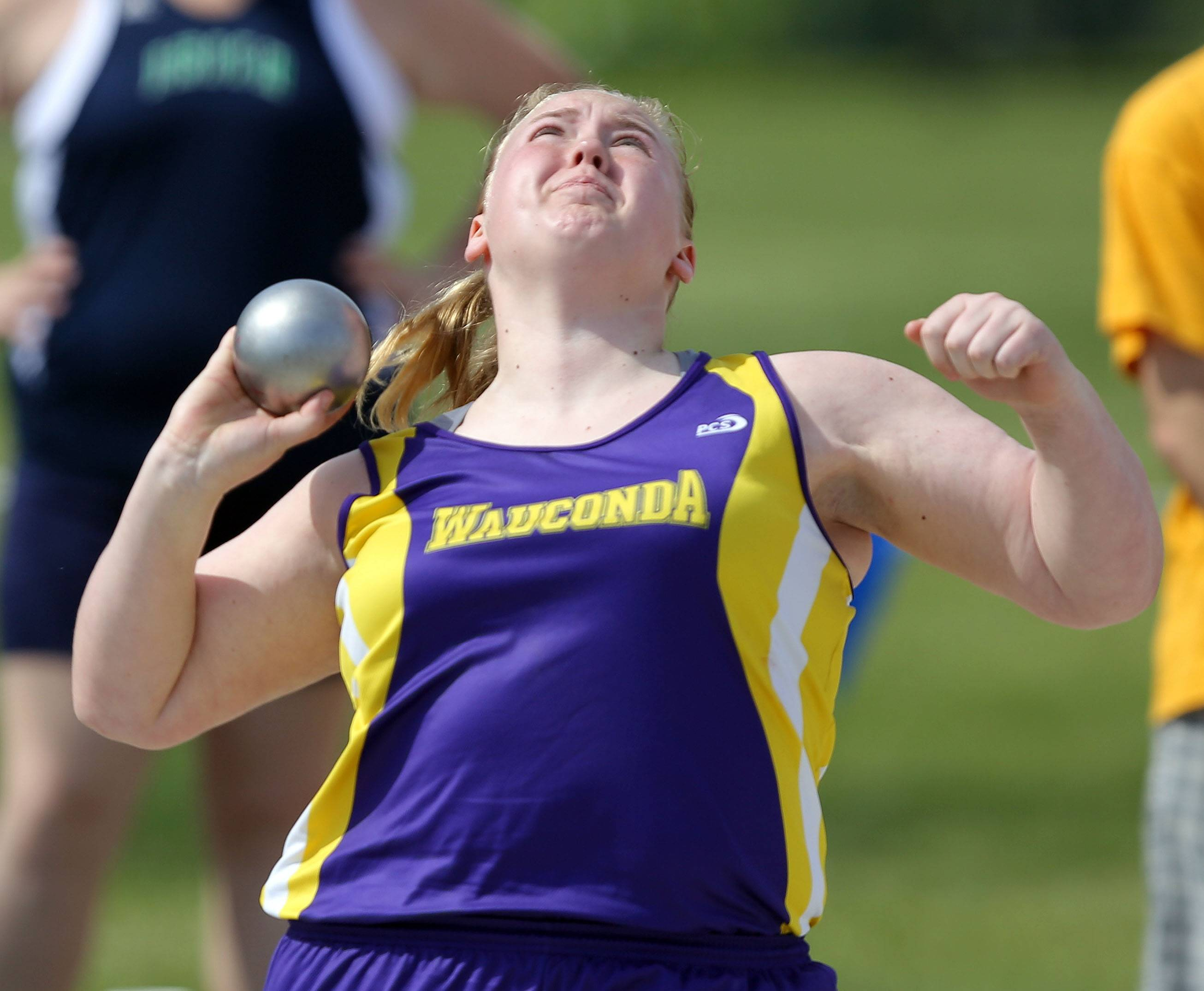 Wauconda's Christina Meinhardt competes in the class 2A shot put during the girls track and field state finals at Eastern Illinois University in Charleston Saturday.