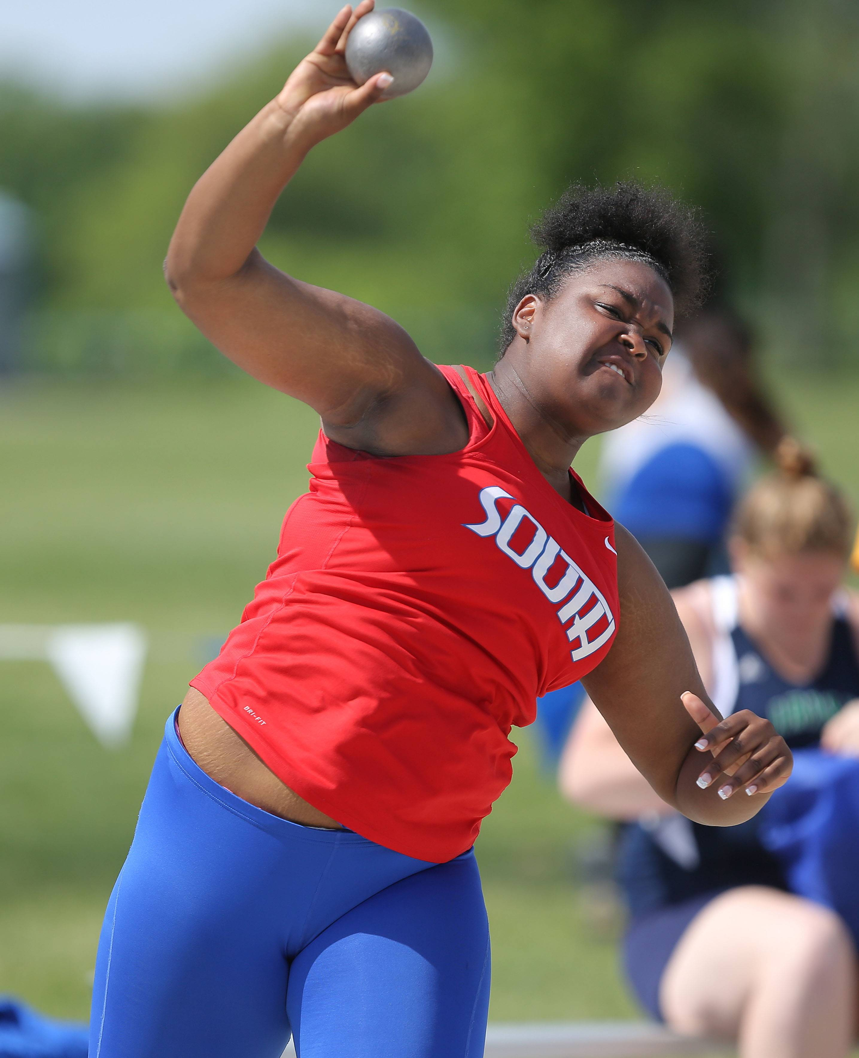 Glenbard South's Mercedes Whitaker competes in the class 2A shot put during the girls track and field state finals at Eastern Illinois University in Charleston Saturday.