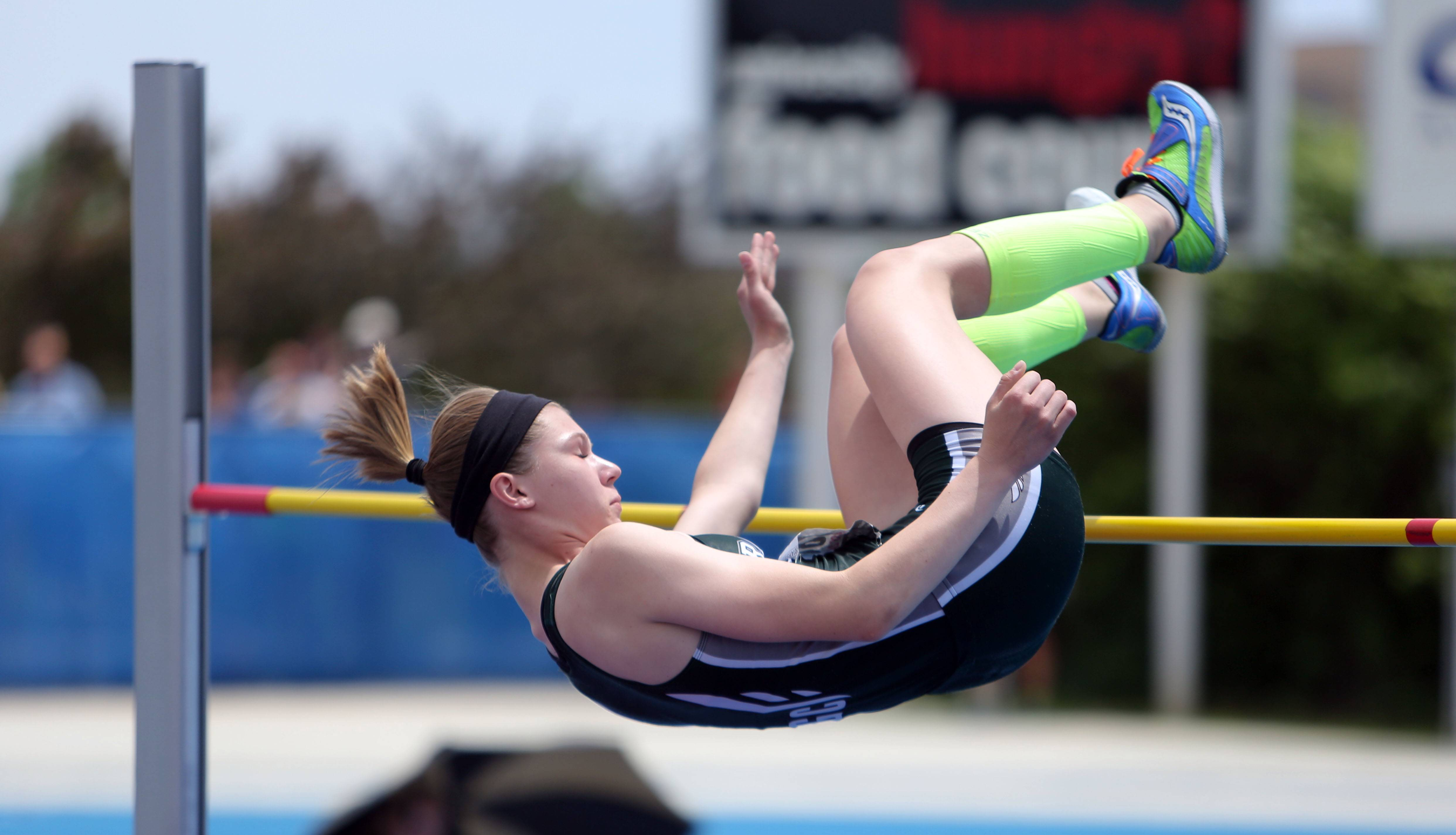 Grayslake Central's Alexa Schmidt competes in the Class 2A high jump during the girls track and field state finals at Eastern Illinois University in Charleston on Saturday.