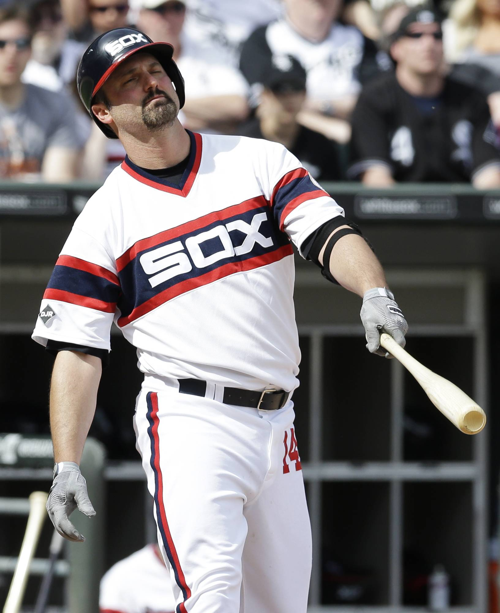 Chicago White Sox's Paul Konerko reacts after being called out on strikes during the ninth inning of a baseball game against the New York Yankees in Chicago on Saturday, May 24, 2014. The Yankees won 4-3.