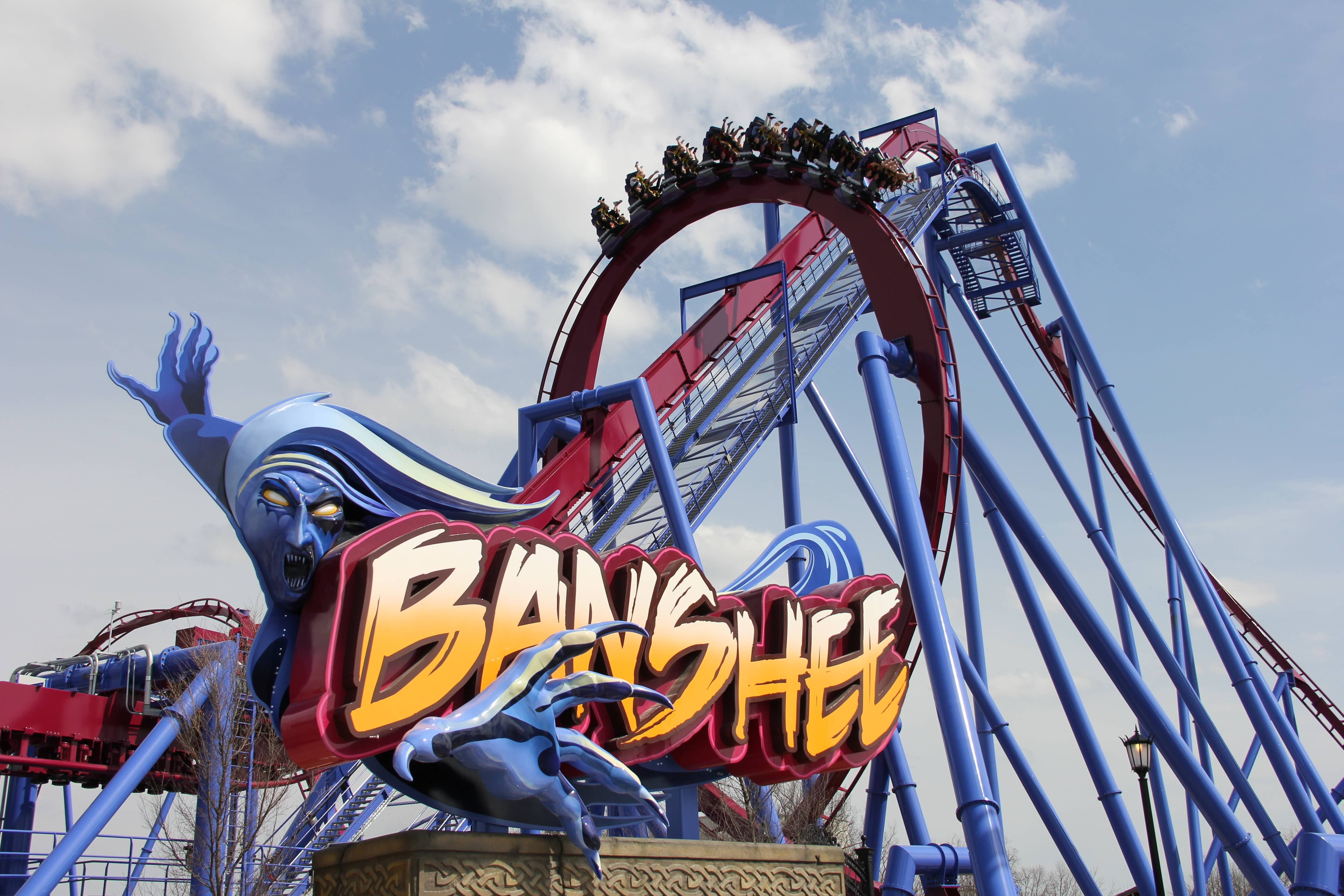 This undated image provided by Kings Island amusement park in Kings Island, Ohio, near Cincinnati, shows the recently opened Banshee roller coaster. It's named for a wailing mythological messenger from the underworld and includes a 167-foot lift hill and a 150-foot curved first drop.