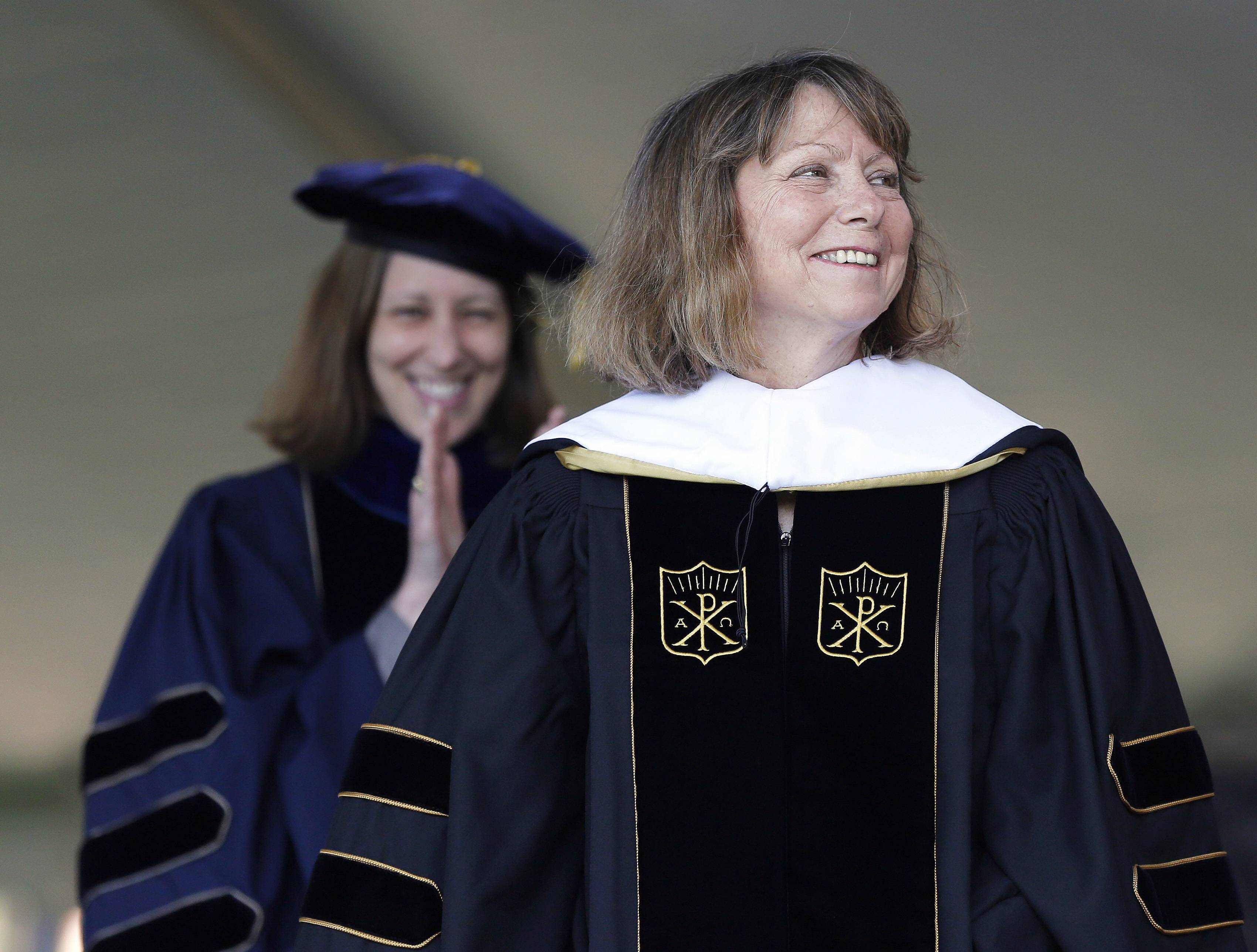 Jill Abramson, former executive editor of The New York Times, receives an honorary Doctor of Humane Letters degree during the commencement ceremony Monday, May 19, 2014 at Wake Forest University in Winston-Salem, N.C. It was Abramson's first public appearance since her dismissal from The New York Times.