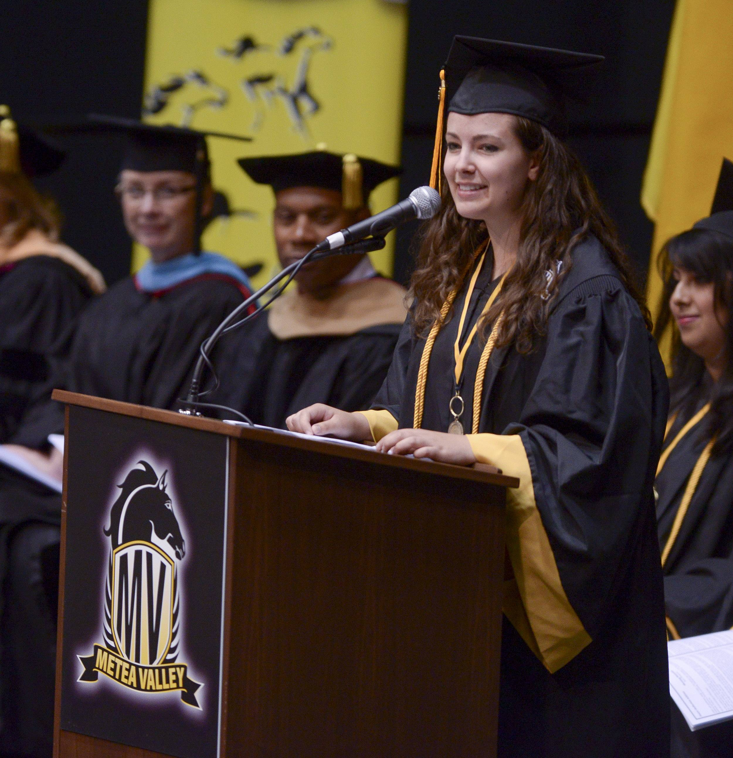 Rose Thompson gives the Senior Reflection Address during the Metea Valley High School graduation on Sunday, May 25 at NIU in DeKalb.