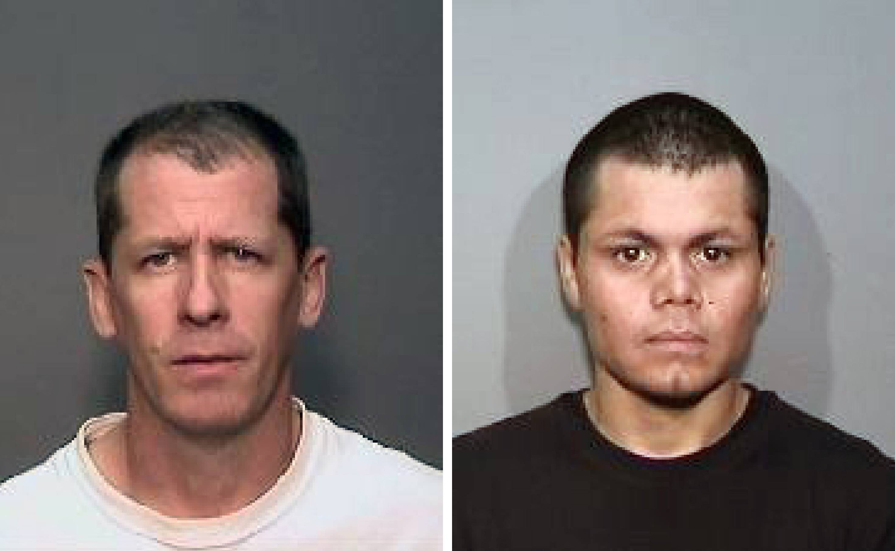 This combination of undated photos from the Megan's Law website shows suspects, Steven Dean Gordon, 45, left, and Franc Cano, 27, who were arrested on Friday, April 11, 2014, on suspicion of killing four women in Orange County, Calif. The two sex offenders charged with raping and killing four California women while wearing GPS monitors had escaped parole supervision and left the state together more than once in the four years before their most recent arrest, The Associated Press learned Friday May 23.