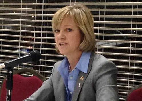 "State Rep. Jeanne Ives, a Republican from Wheaton, shown here at a February forum at the Wheaton Park District Community Center, thinks the process for allotting veterans funds to community colleges ""looks awfully political."""