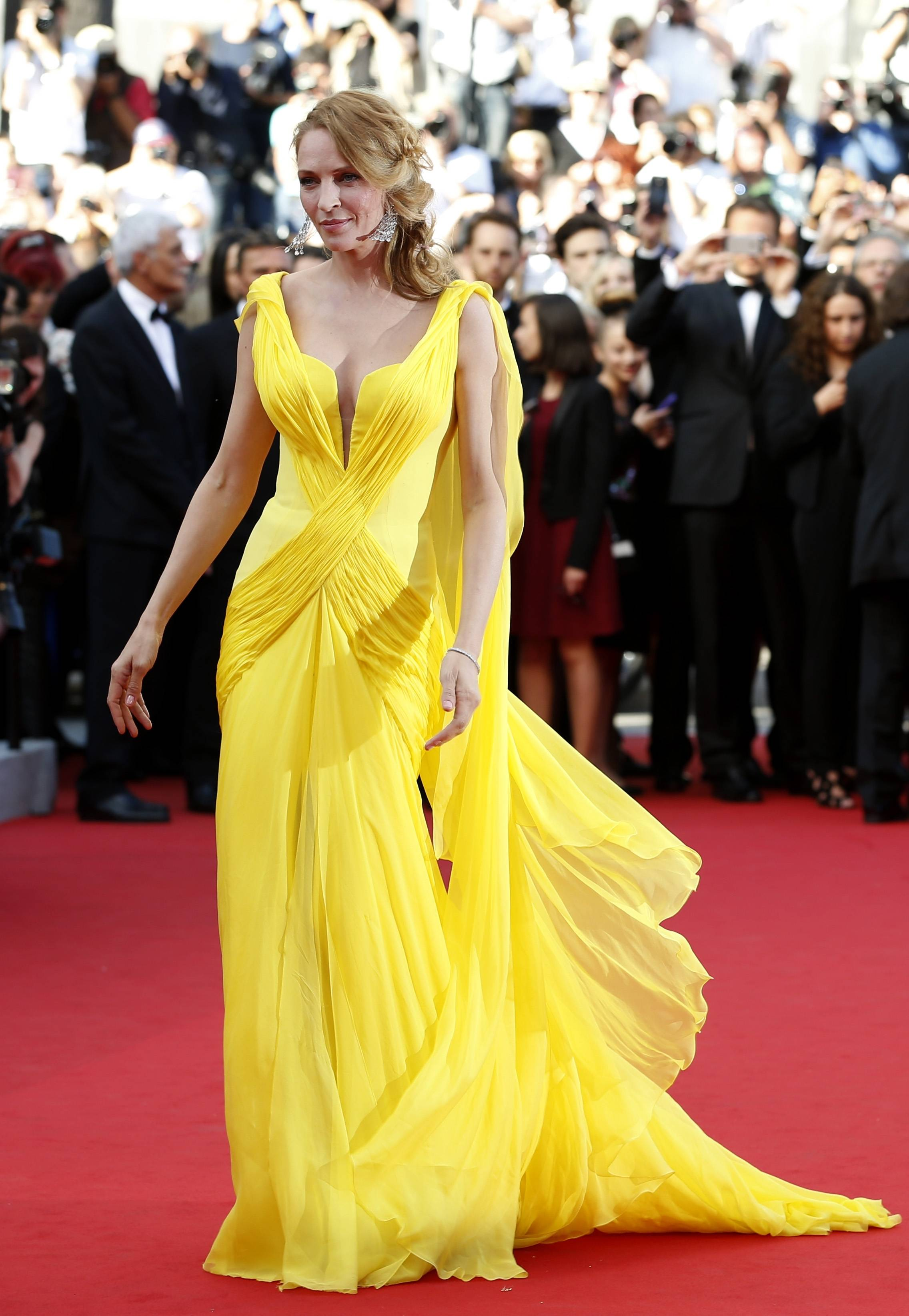 "Actress Uma Thurman arrives for the May 23 screening of ""Sils Maria"" at the 67th annual Cannes Film Festival in southern France."