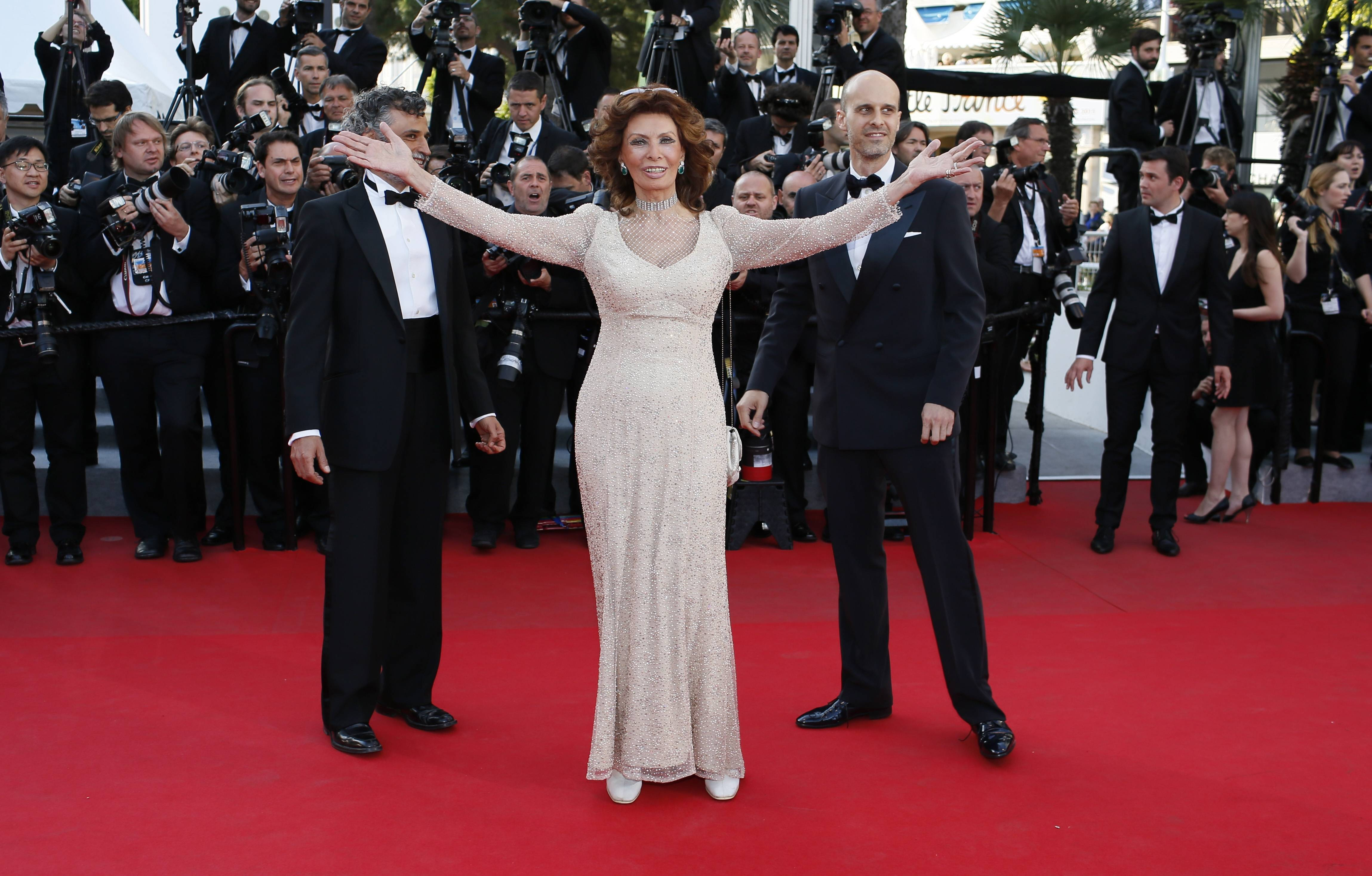 "Actress Sophia Loren arrives for the May 20 screening of 'Two Days, One Night (Deux jours, une nuit)"" at the 67th annual Cannes Film Festival in southern France."