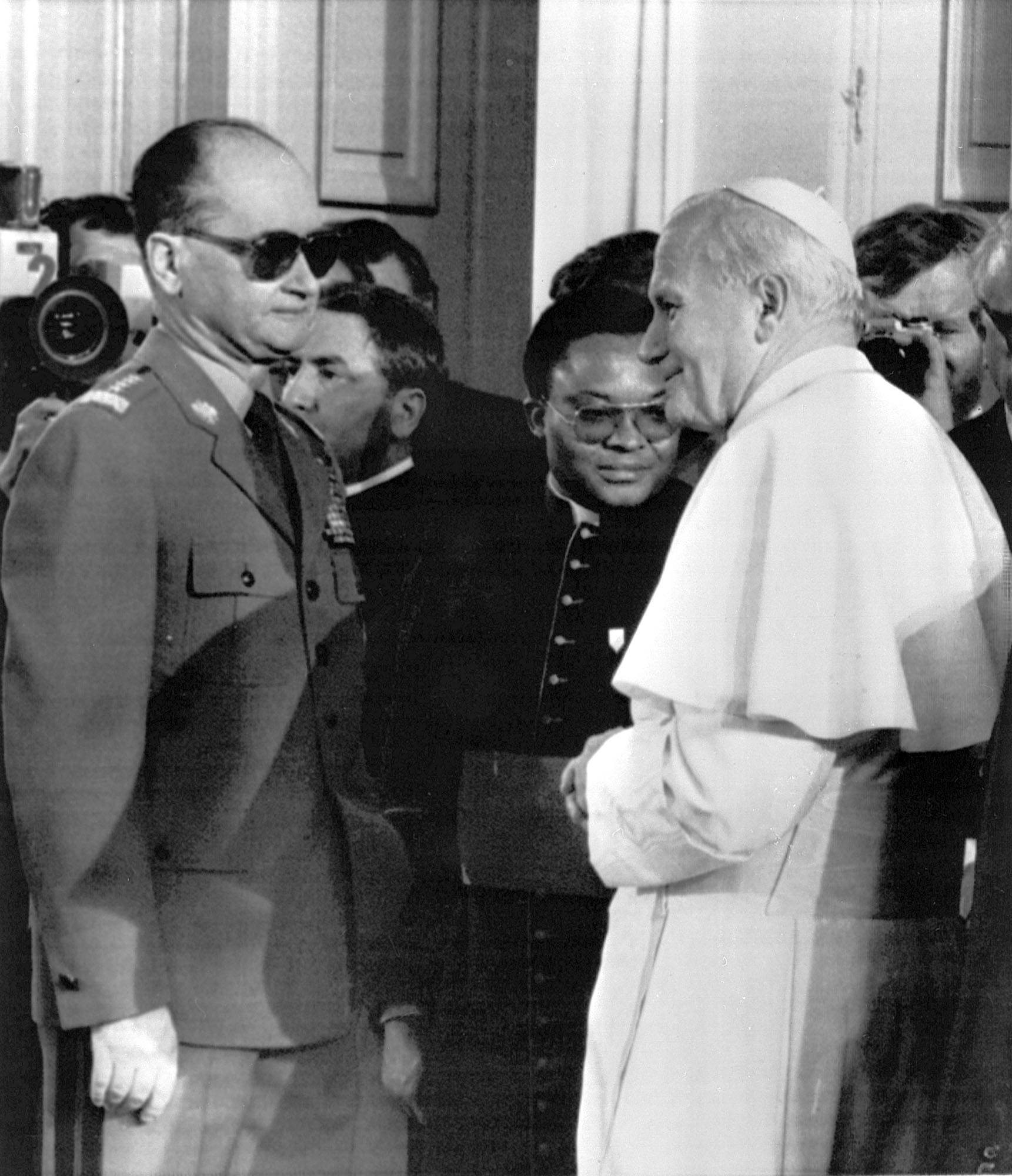 In this June 17, 1983, file photo, Pope John Paul II meets with Polish premier Wojciech Jaruzelski at Belvedere Palace in Warsaw.