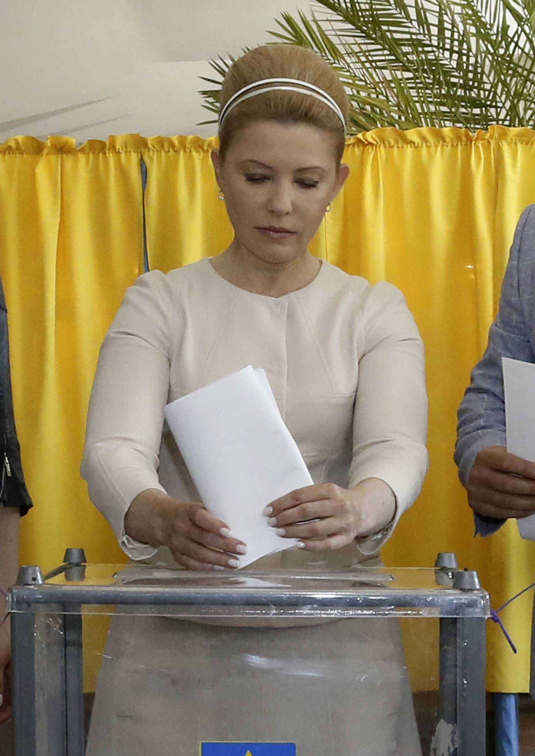 Ukraine's presidential candidate Yulia Tymoshenko casts her ballot at a polling station during the presidential election in Dnipropetrovsk, Ukraine, Sunday.