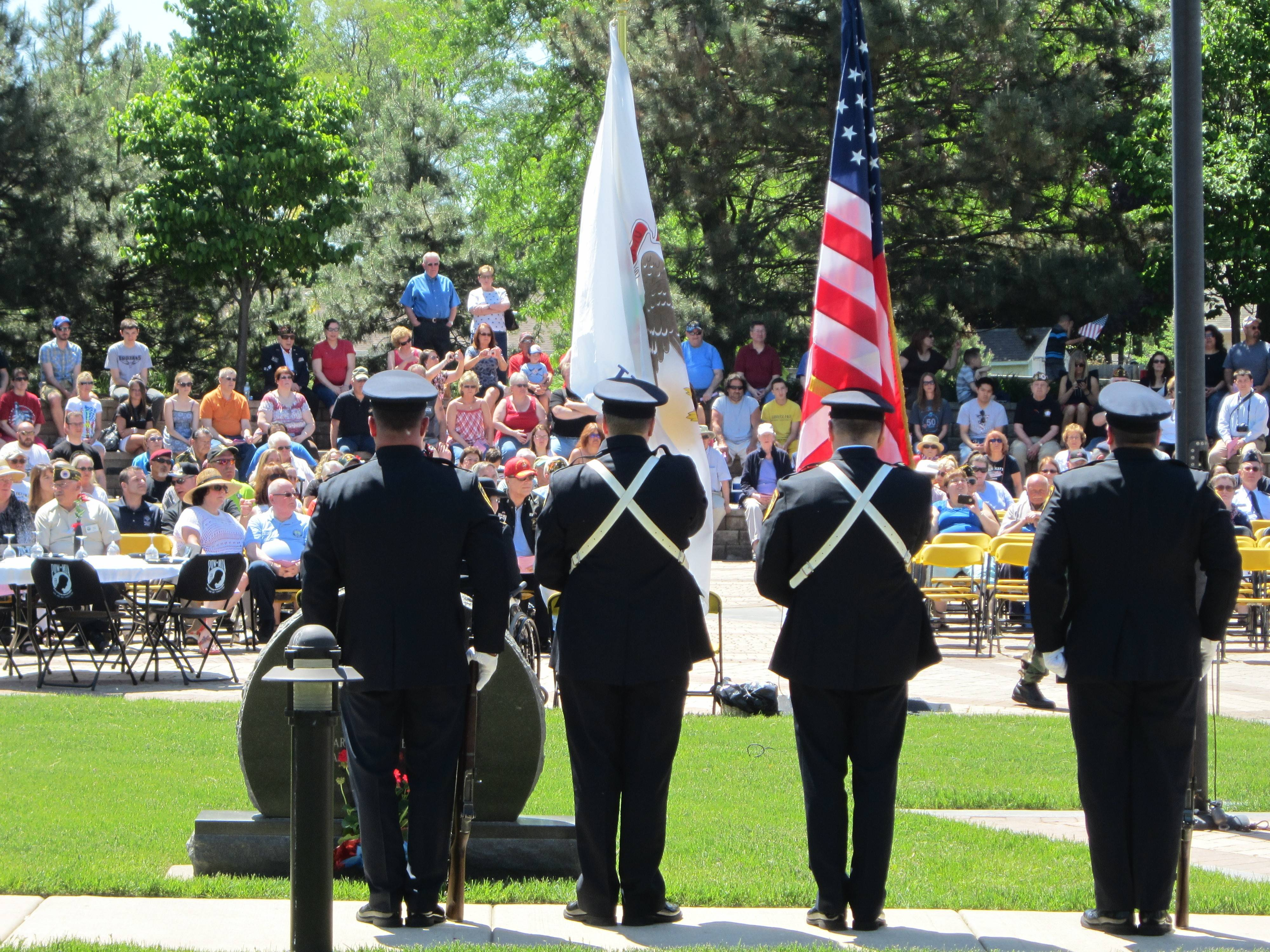 The Color Guard stands at attention during the Veterans Memorial Ceremony in Streamwood.