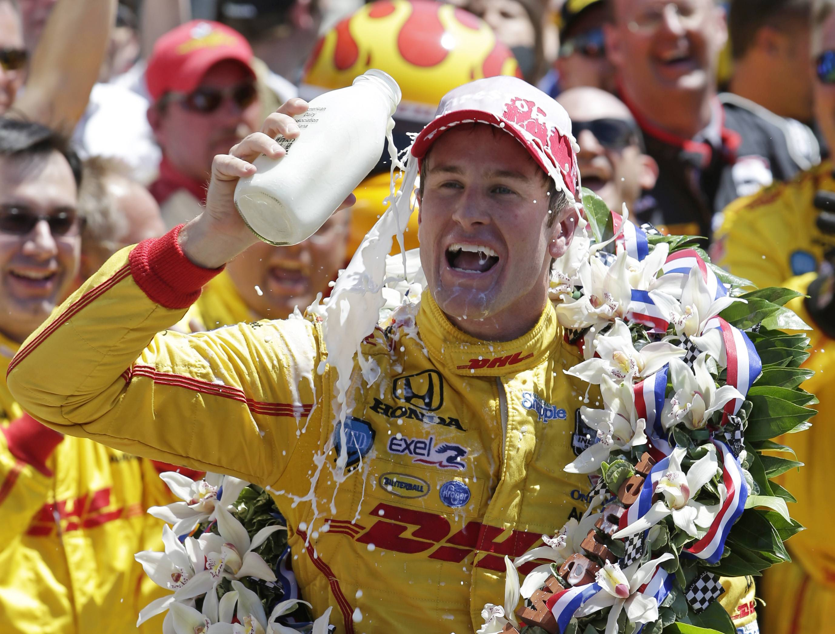 Ryan Hunter-Reay celebrates winning the Indianapolis 500 IndyCar auto race at the Indianapolis Motor Speedway in Indianapolis, Sunday.