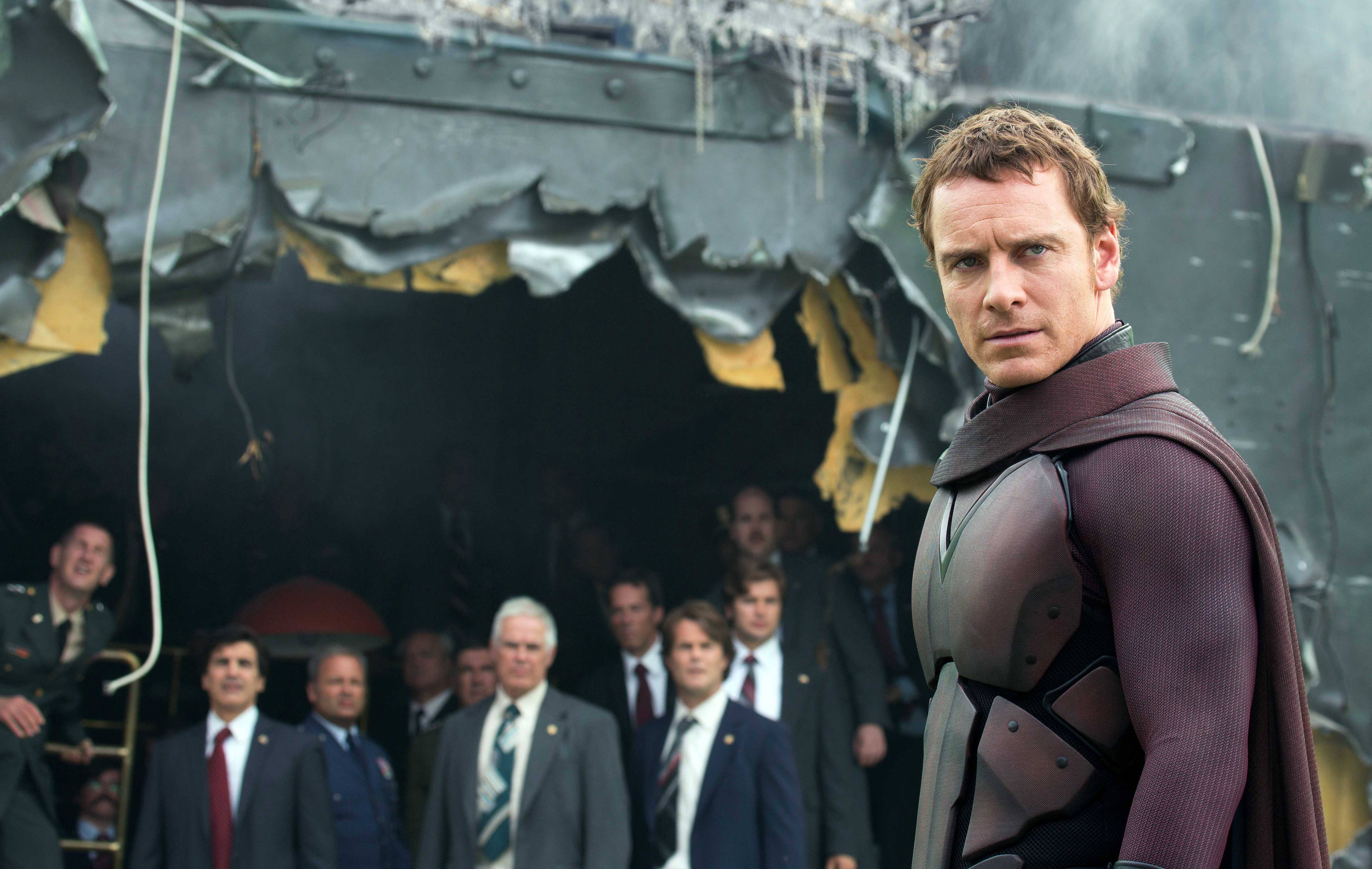 "This image released by 20th Century Fox shows Michael Fassbender as mutant villain Magneto in the film ""X-Men: Days of Future Past."""