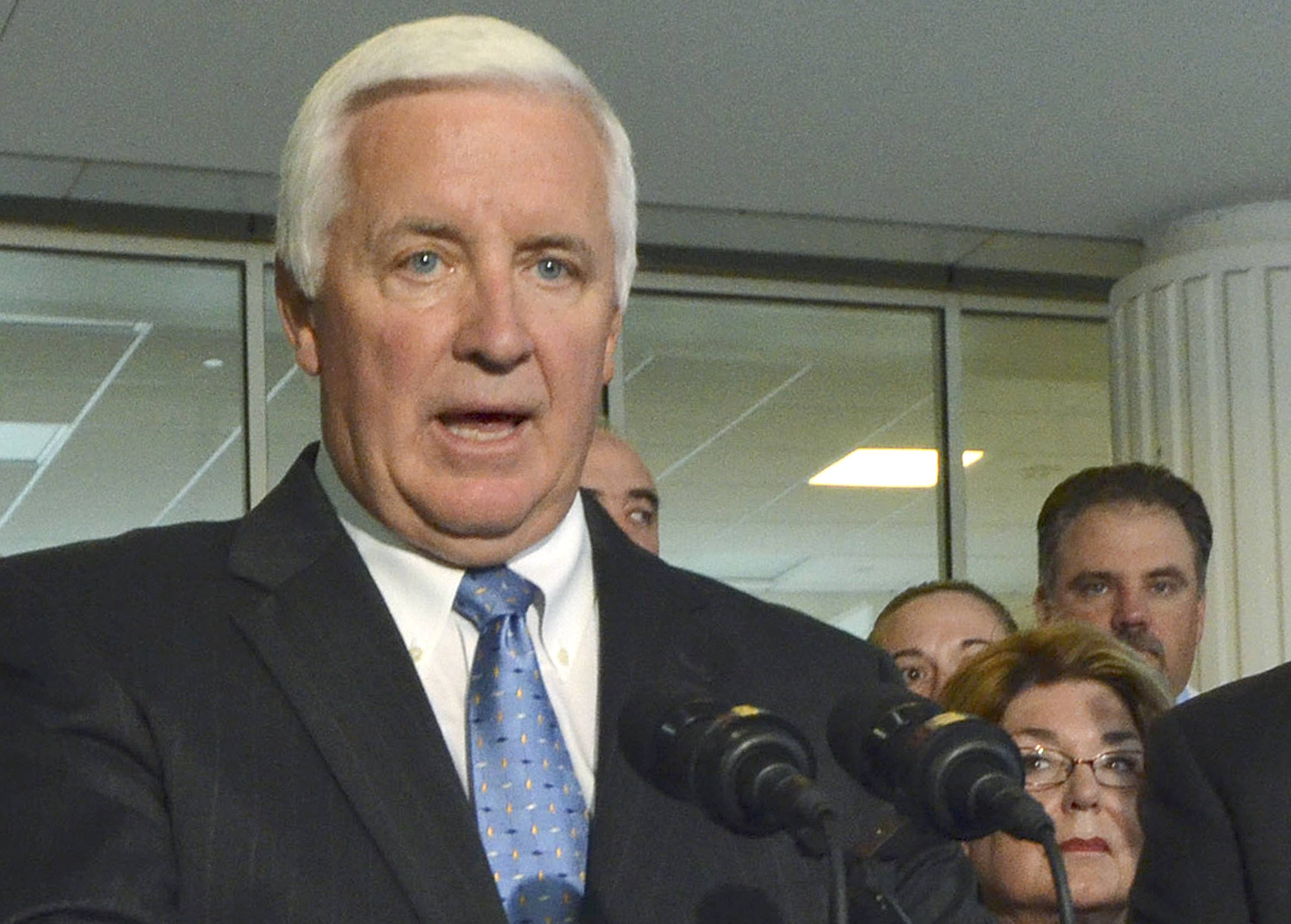 This Sept. 15, 2013, file photo shows Pennsylvania Gov. Tom Corbett speaking during a news conference in Harrisburg, Pa. Corbett publicly opposes the legalization of same-sex marriage. One after another and in sometimes evocative language, judges appointed by Republican and Democratic presidents are declaring it's too late to turn back on the topic of same-sex marriage. The latest ruling, in Pennsylvania, was followed quickly by word from Republican Corbett that he would not appeal and instead let the decision take effect. Corbett is facing a tough campaign for re-election this year.