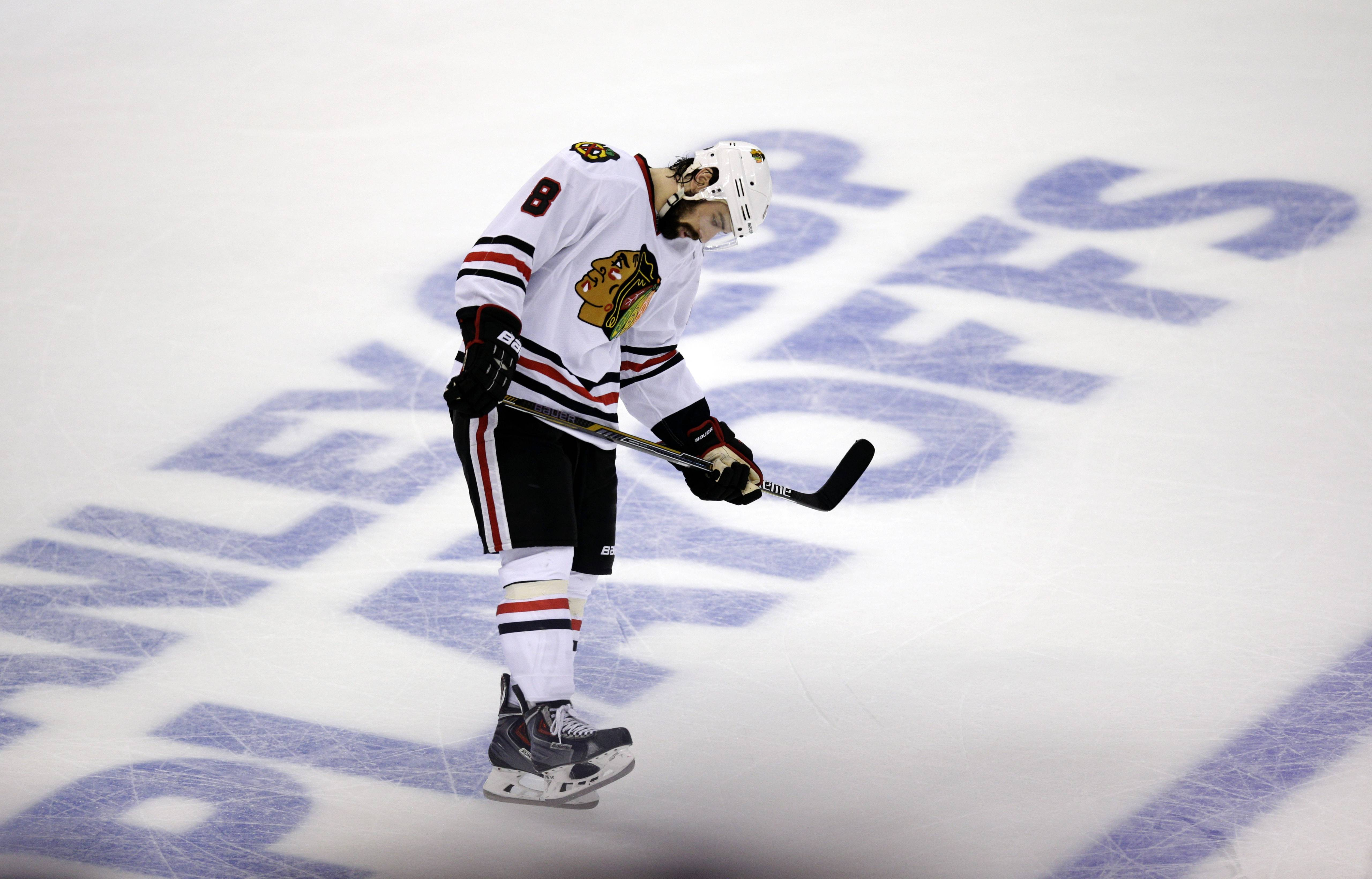Chicago Blackhawks' Nick Leddy puts his head down as he skates on the ice after Los Angeles Kings' Tanner Pearson scored a goal during the third period of Game 4 of the Western Conference finals of the NHL hockey Stanley Cup playoffs on Monday, May 26, 2014, in Los Angeles. The Kings won 5-2.