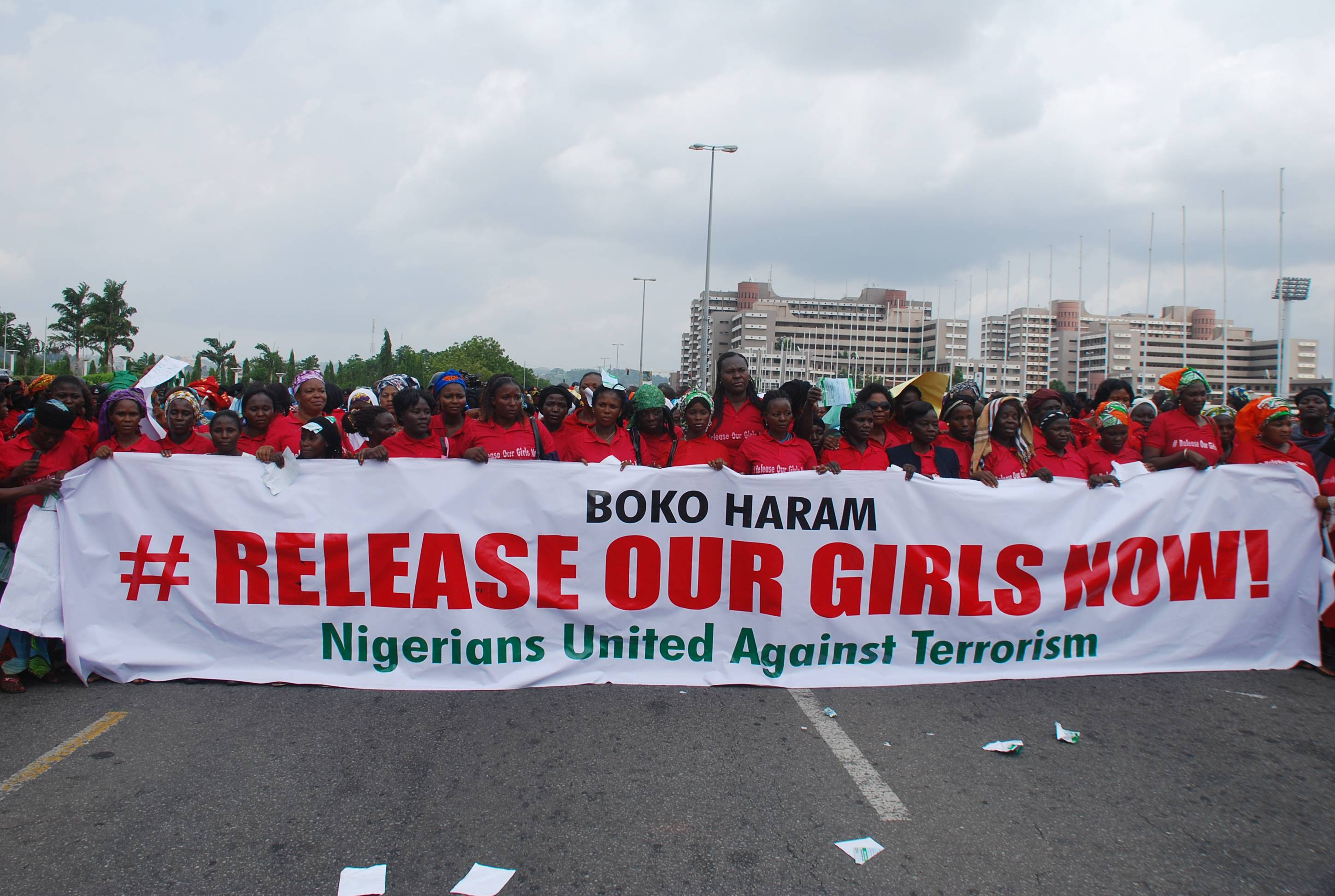 The Nigerians United Against Terrorism group attend a demonstration Monday calling on the government to rescue the kidnapped girls of the government secondary school in Chibok, in Abuja, Nigeria.