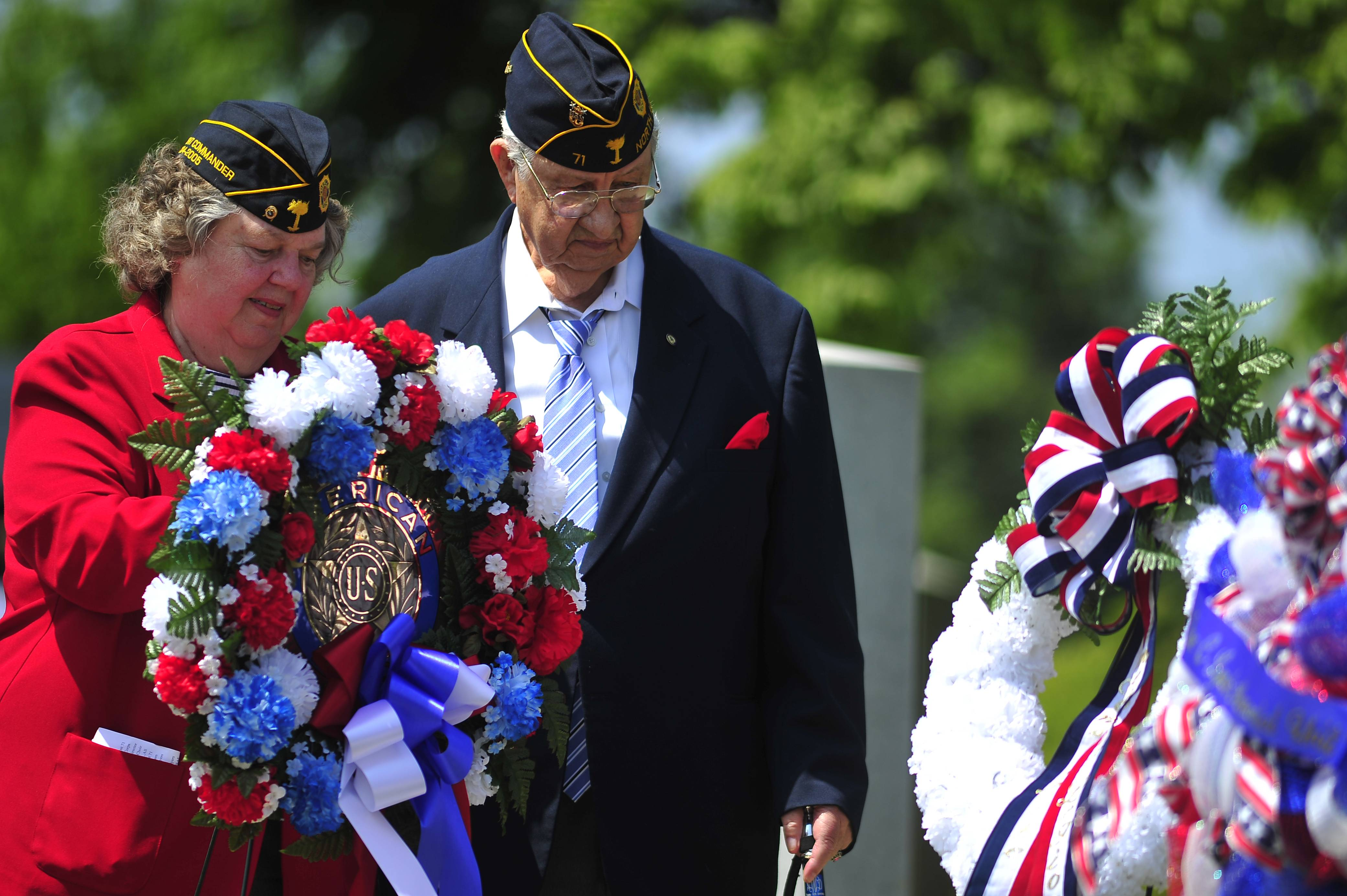 Norma and Norman Walker present a wreath for American Legion Auxiliary Unit 71 and American Legion Post 71 during the Memorial Day service presented for the City of North Augusta by American Legion Post 71 in North Augusta, S.C., on Monday, May 26, 2014.