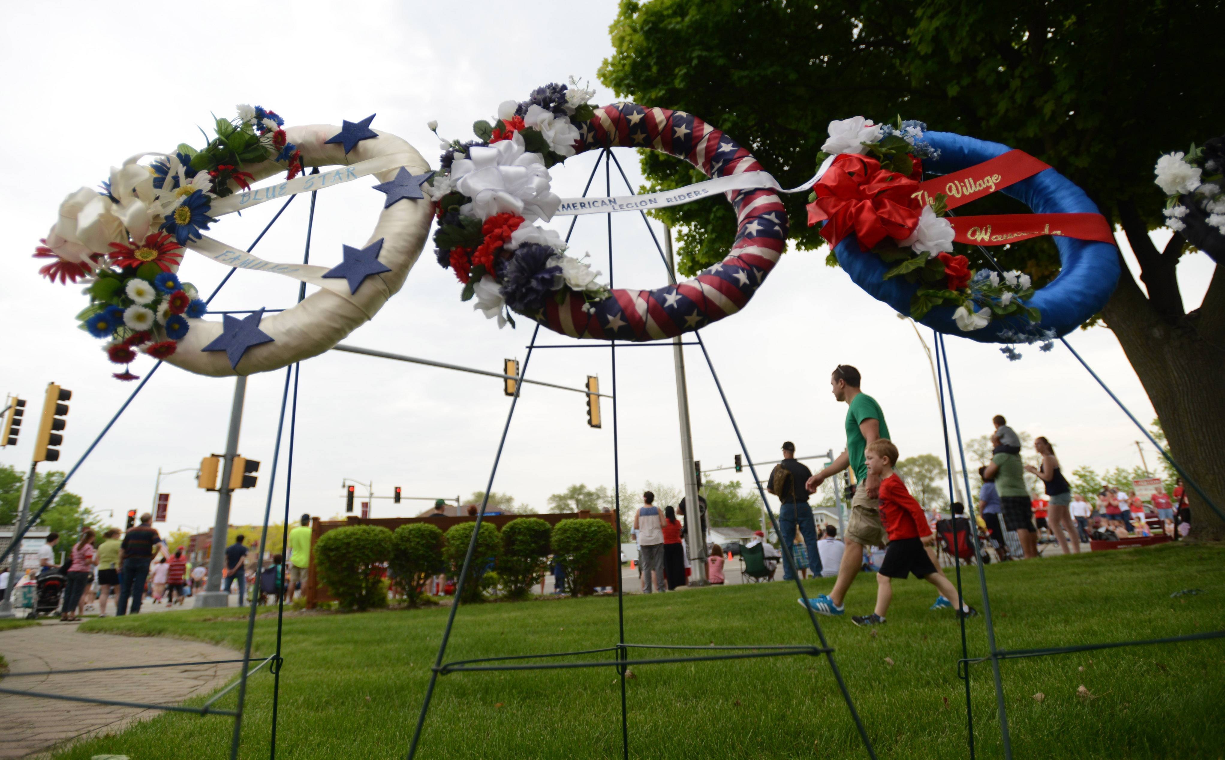 Wreaths are placed at Memorial Park on Route 176 and Main Street in Wauconda during the village's Memorial Day parade and ceremony on Monday.