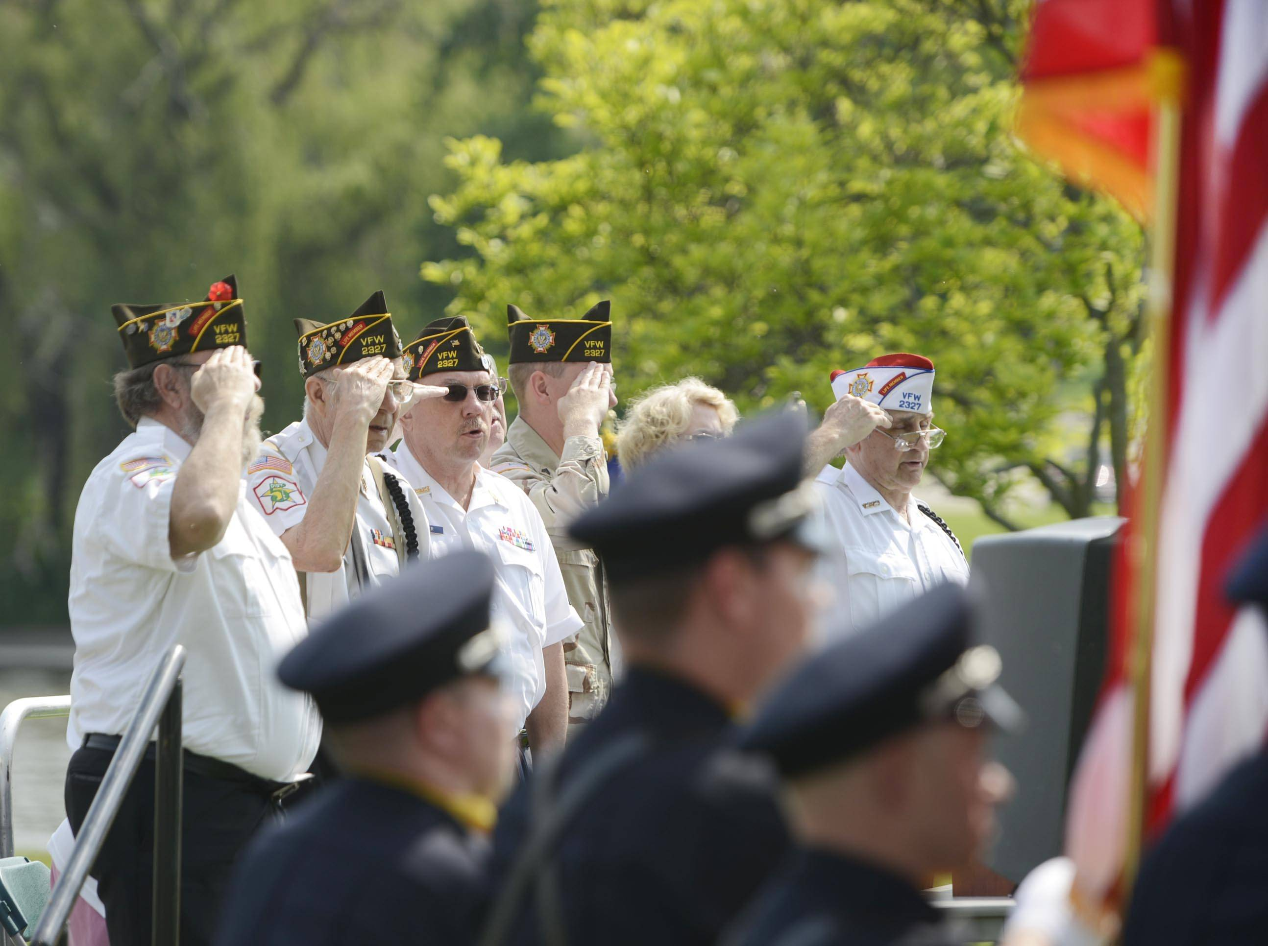 VFW Post 2327 Honor Guard salutes as the colors are posted at South Elgin's Memorial Day event at Panton Mill Park Monday.