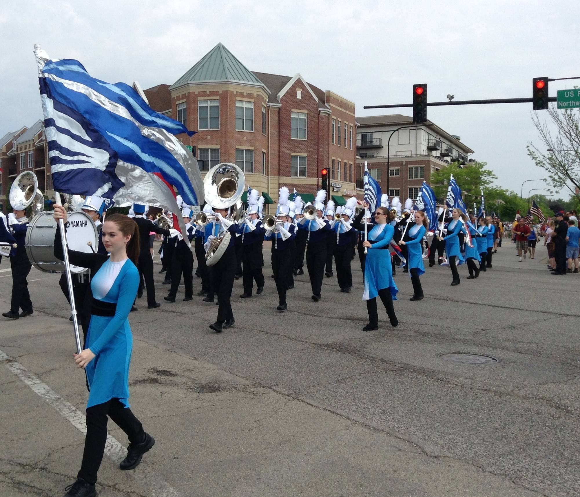 The Prospect High School marching band was a prominent part of Mount Prospect's Memorial Day parade through the heart of the village's downtown Monday morning.