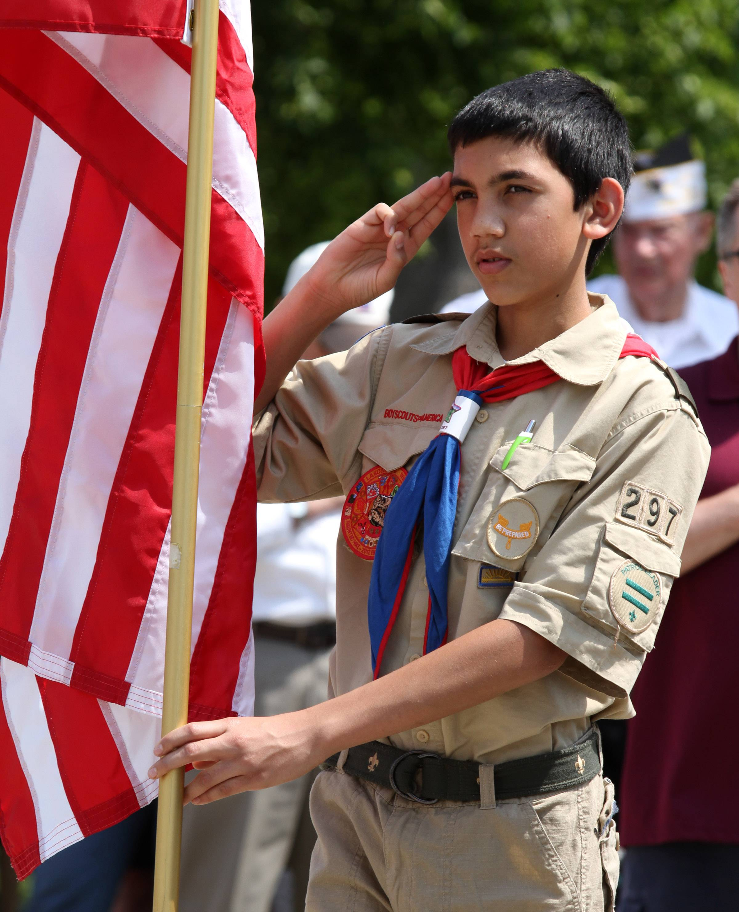 Boy Scout Luke Schmidt with troop 297 salutes during a Memorial Day ceremony in St. Peter Lutheran Cemetery in Schaumburg.
