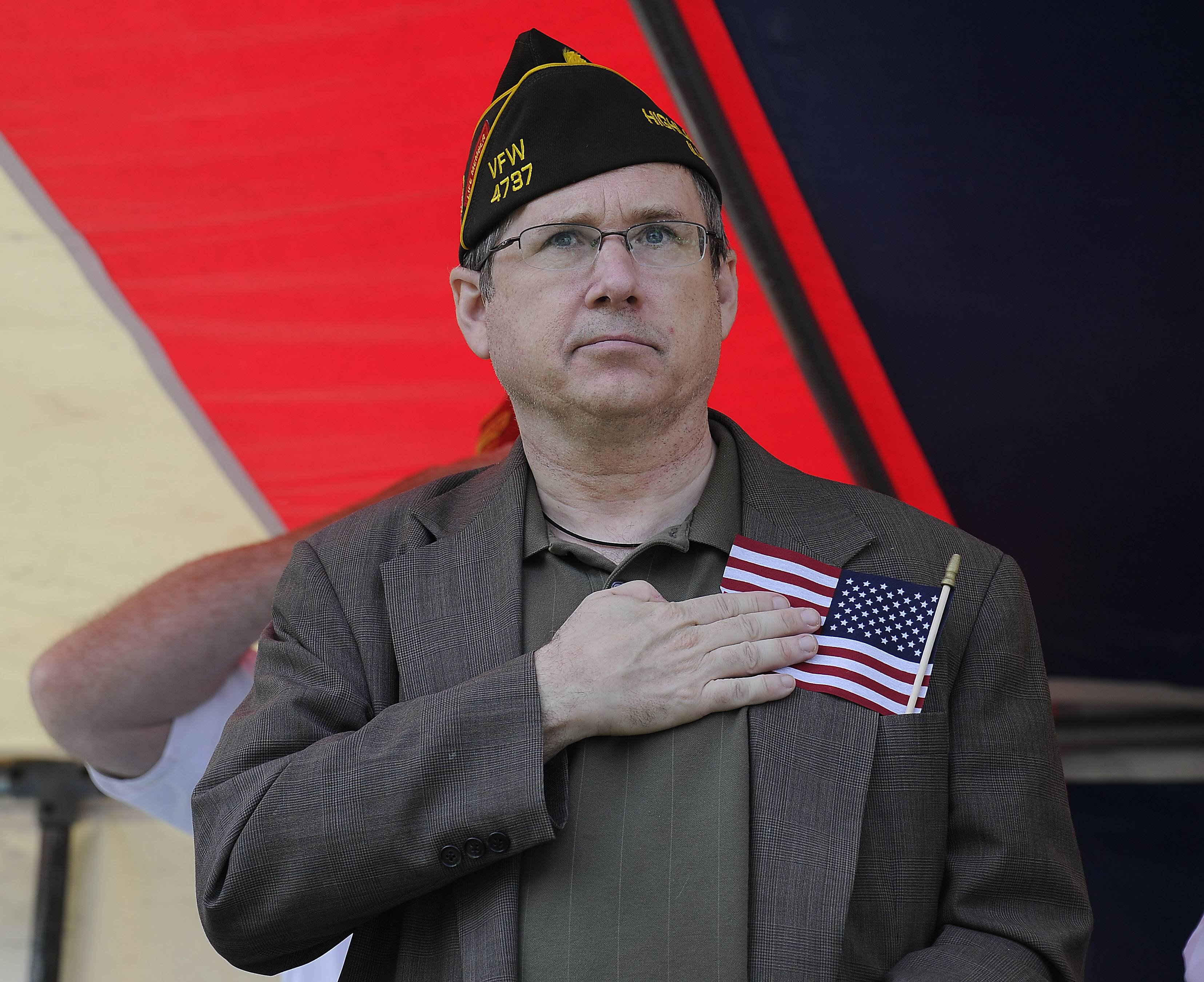Senator Mark Kirk before the start of the ceremony at the Arlington Heights Memorial Day event on Monday.