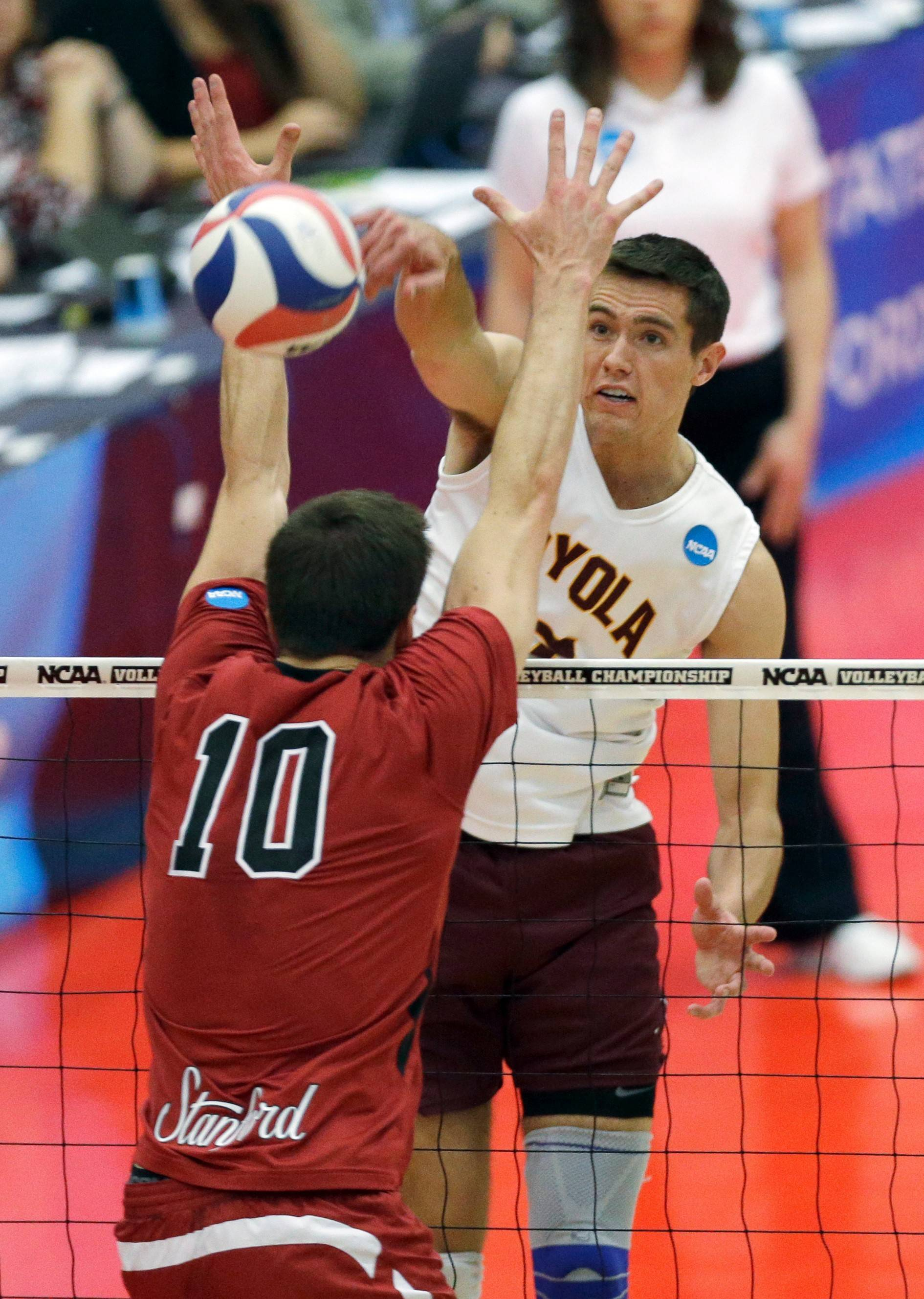 After winning a state title with Wheaton Warrenville South, Thomas Jaeschke, right, helped Loyola University Chicago capture the NCAA men's volleyball championship earlier this month. Now Jaeschke is practicing with the U.S. National Team.
