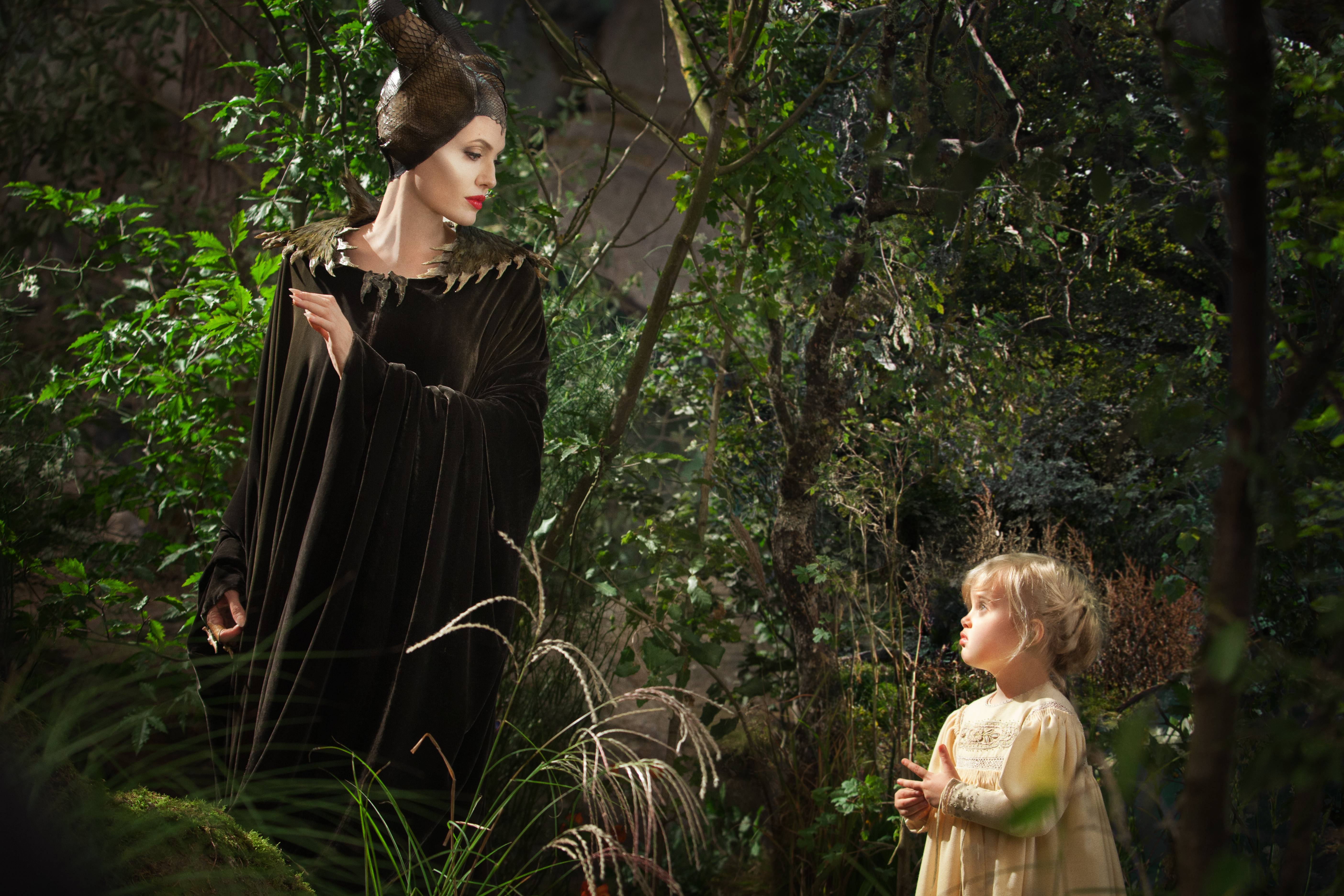 "Angelina Jolie is Maleficent while her daughter Vivienne Jolie-Pitt portrays Young Aurora in the new movie ""Maleficent."""