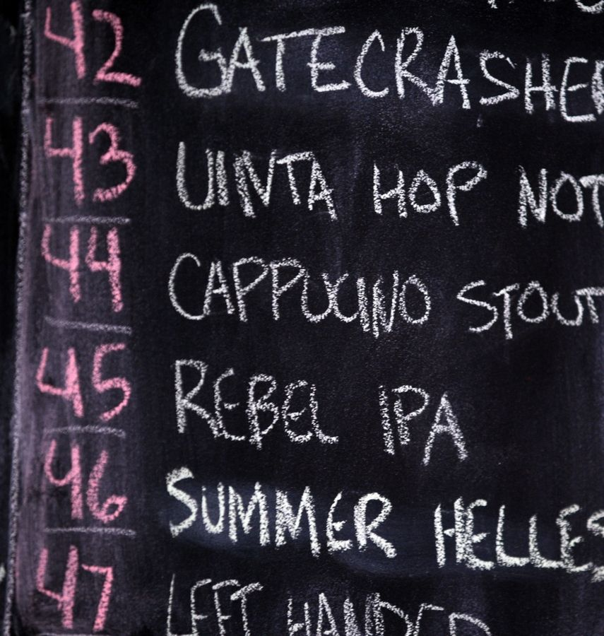 The extensive and ever-changing beer list is featured on a chalkboard at Tap House Grill in Des Plaines.