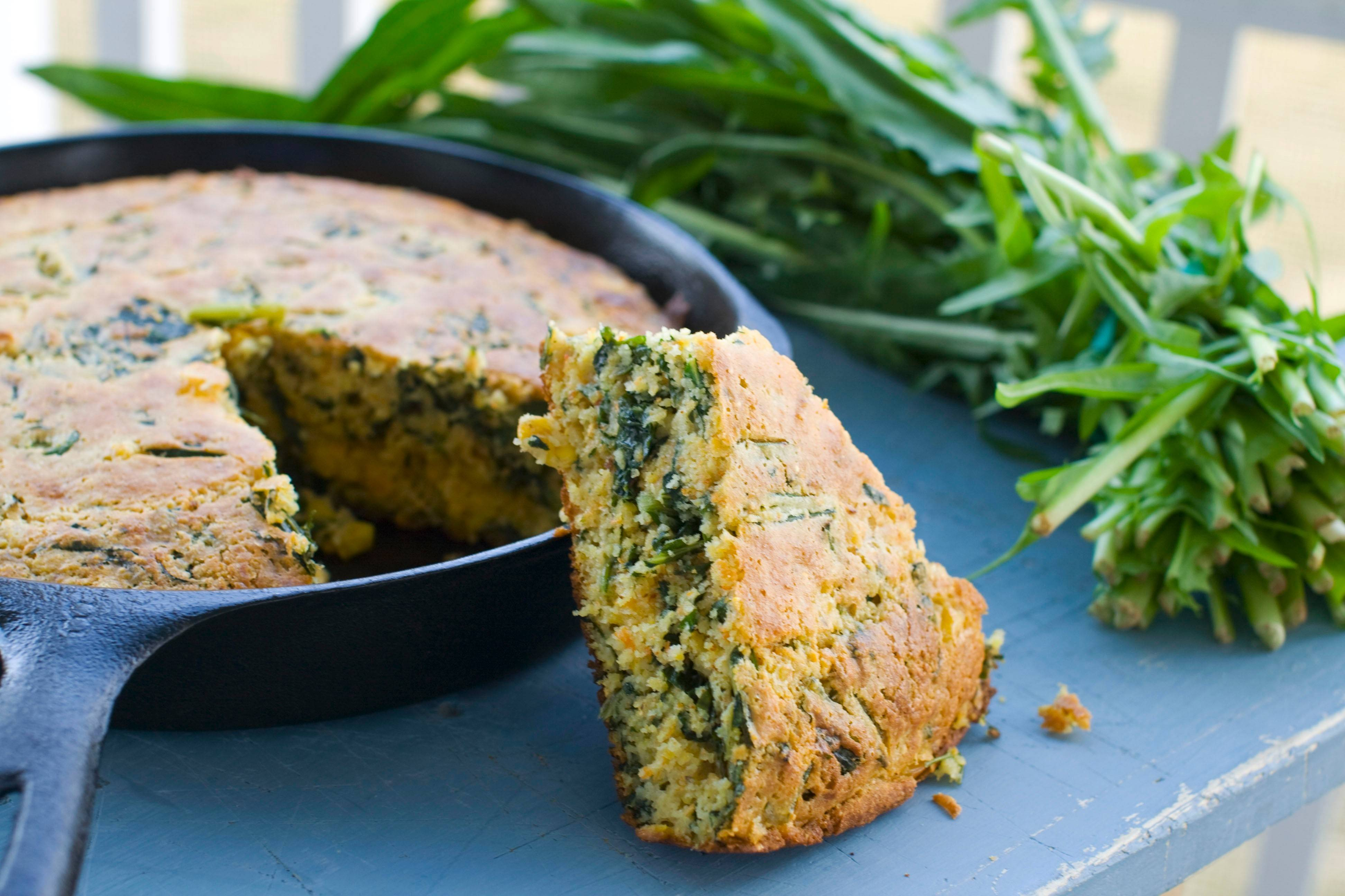 Dandelion greens can be used just like arugula or spinach in recipes for stew, lasagna and cornbread.