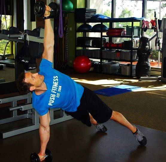 Prone dumbbell rotation
