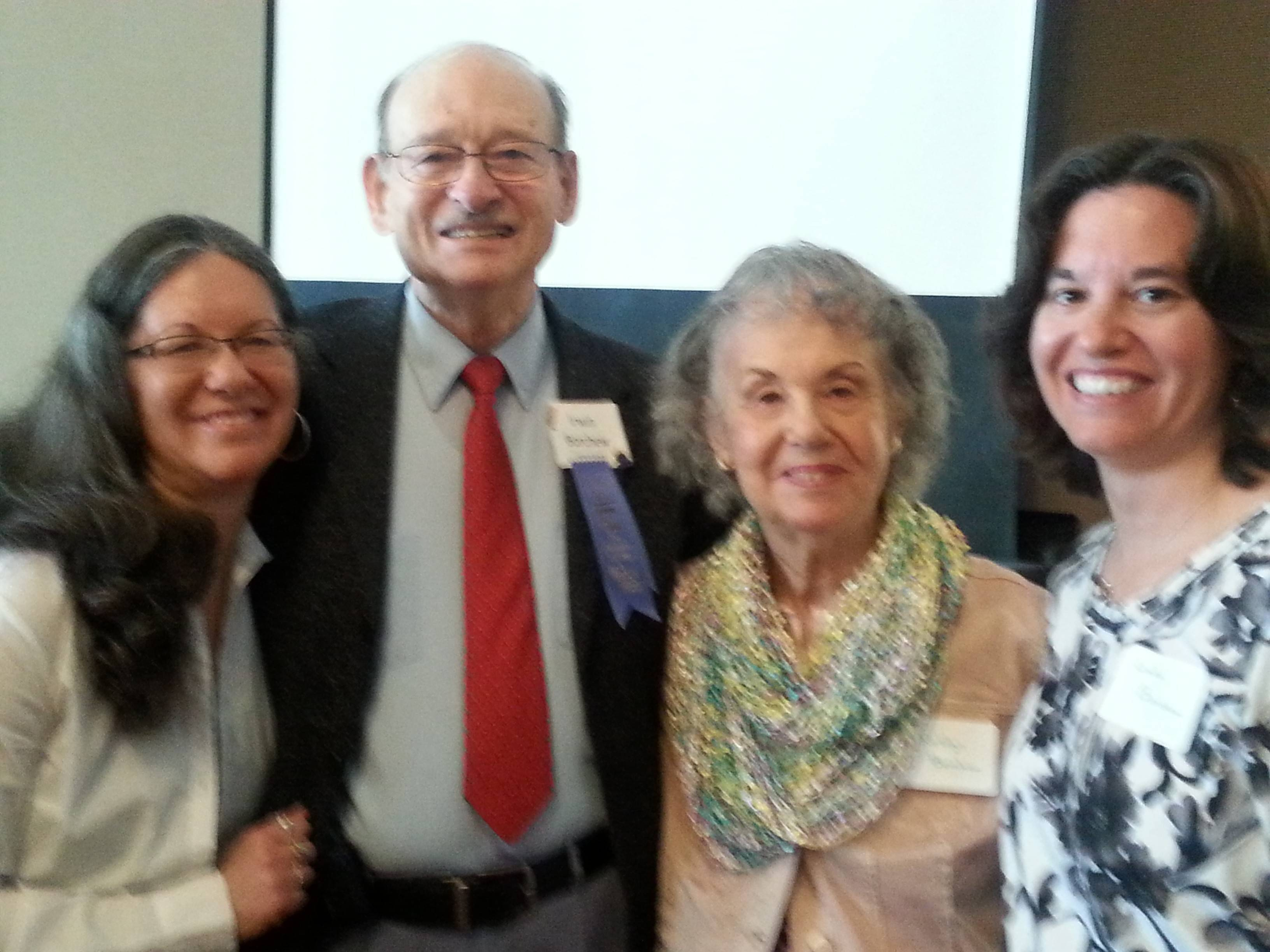 Award winner Irwin Borchew with his family, from left, daughter Gail Schuck, wife Roslyn Borchew and daughter Linda Borchew.