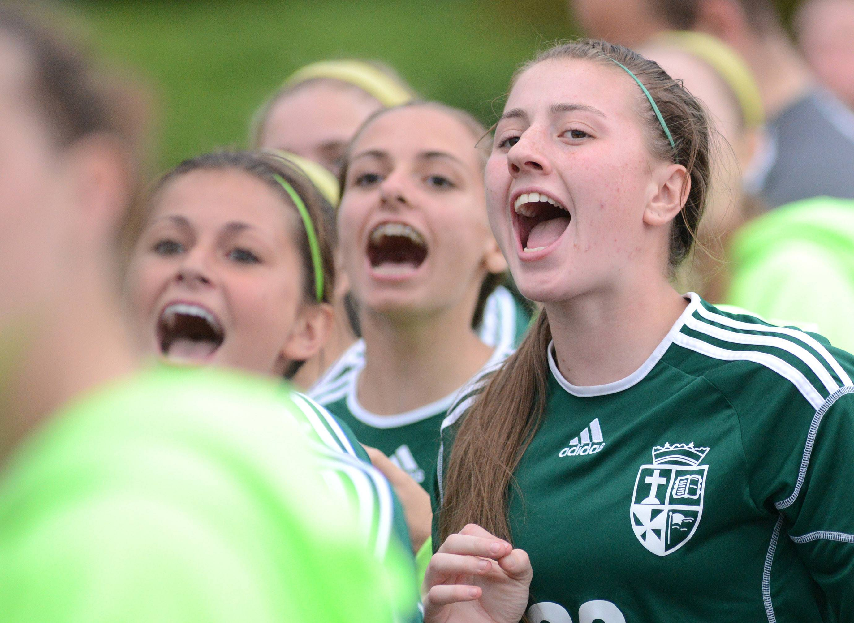 St. Edward's Gabriela Tripicchio, far right, and teammates count down the let 10 seconds on the clock to their 4-0 win over Chicago Latin in the Class 1A supersectional at Concordia University in River Forest on Tuesday.