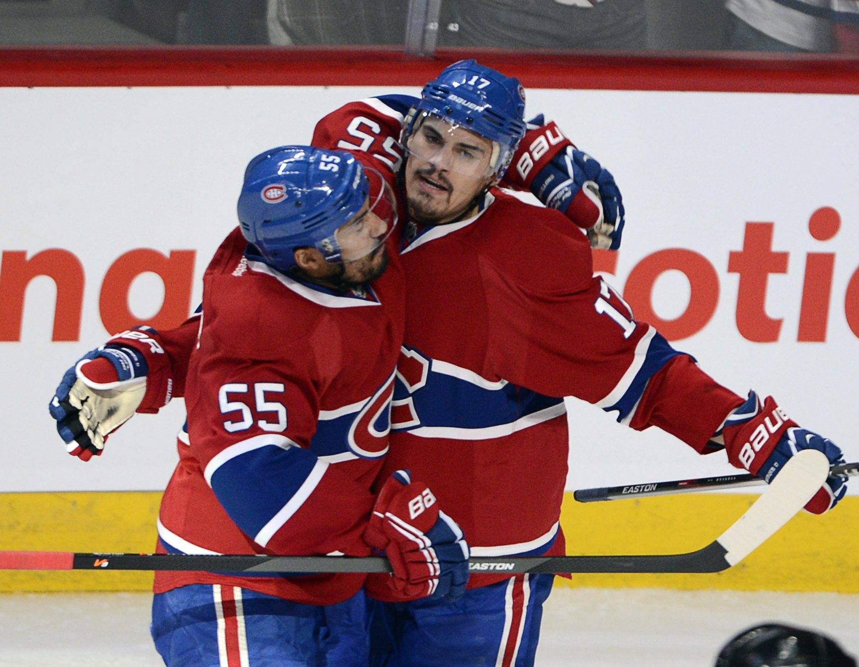 Rene Bourque scored three goals and the Montreal Canadiens chased goalie Henrik Lundqvist and defeated the New York Rangers 7-4 on Tuesday to stave off elimination in the Eastern Conference final.The Rangers, who lead the best-of-seven series 3-2, will have another chance to earn a trip to the Stanley Cup final in Game 6 on Thursday night in New York.