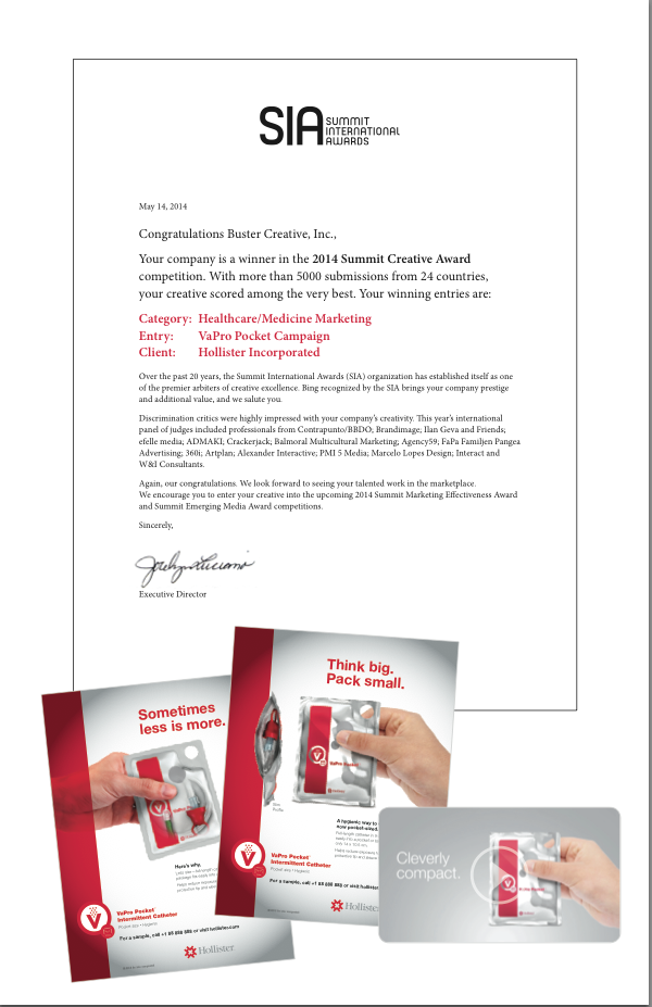 Summit International Awards Letter of Congratulations, and Buster Creative's new product launch campaign, healthcare marketing. Alice Hlavin