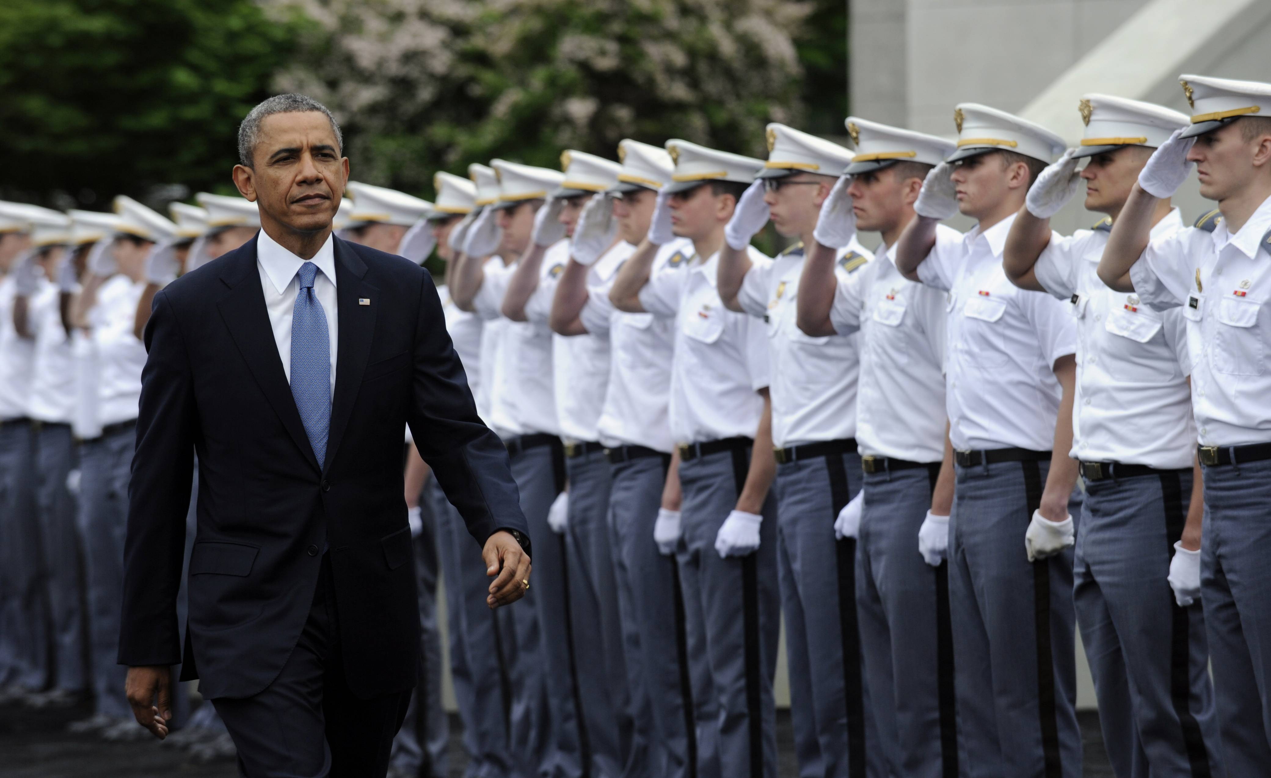 "President Barack Obama arrives to deliver the commencement address to the U.S. Military Academy at West Point's Class of 2014, Wednesday, May 28, 2014, in West Point, N.Y., Wednesday, May 28, 2014. In a broad defense of his foreign policy, the president declared that the U.S. remains the world's most indispensable nation, even after a ""long season of war,"" but argued for restraint before embarking on more military adventures."