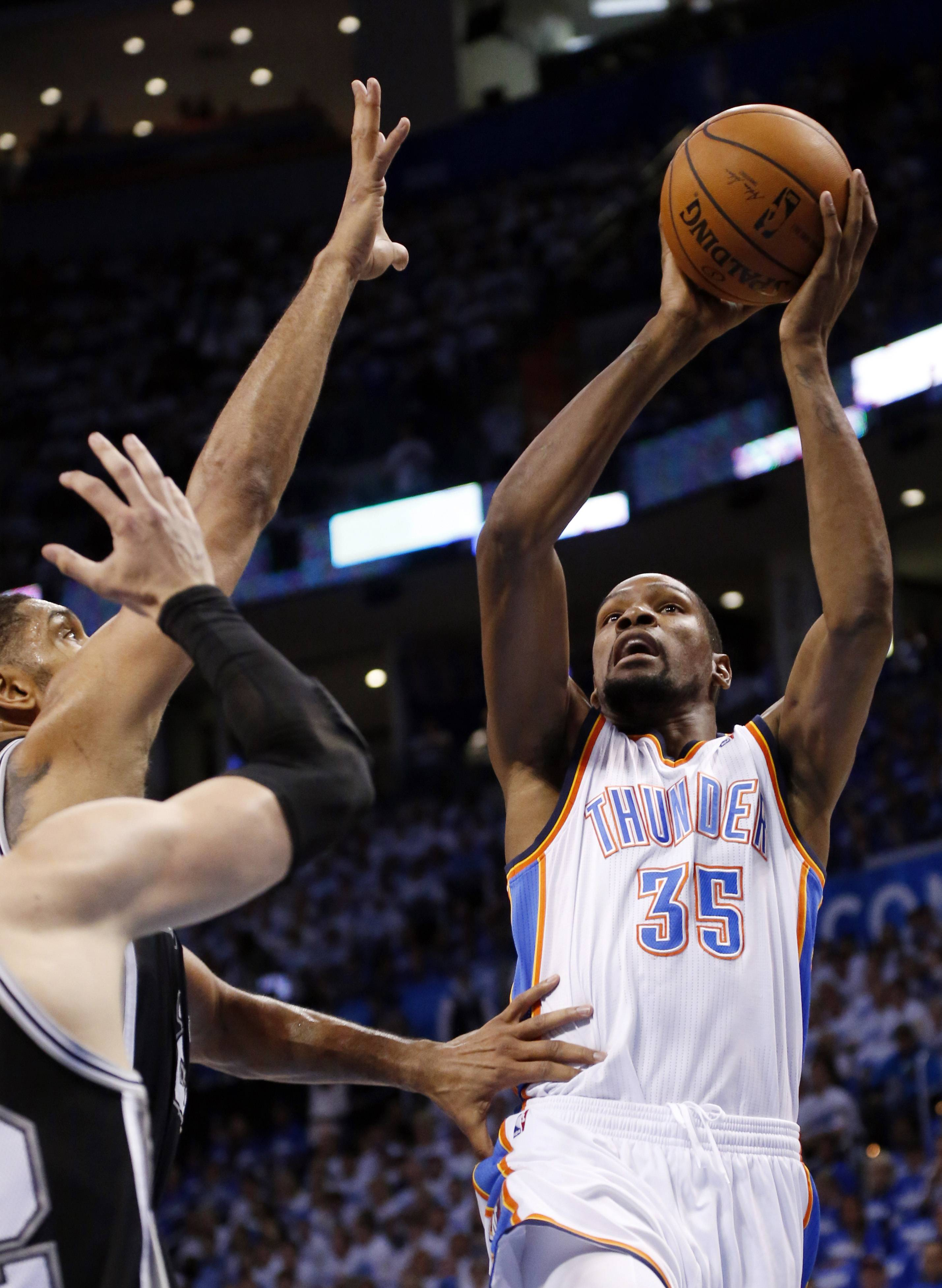 Russell Westbrook had 40 points and 10 assists, and the Oklahoma City Thunder beat the San Antonio Spurs 105-92 on Tuesday night to tie the Western Conference finals at two games apiece. It matched the second-highest playoff point total of Westbrook's career, falling short of the 43 he scored in the 2012 NBA Finals. He also had five rebounds and five steals.