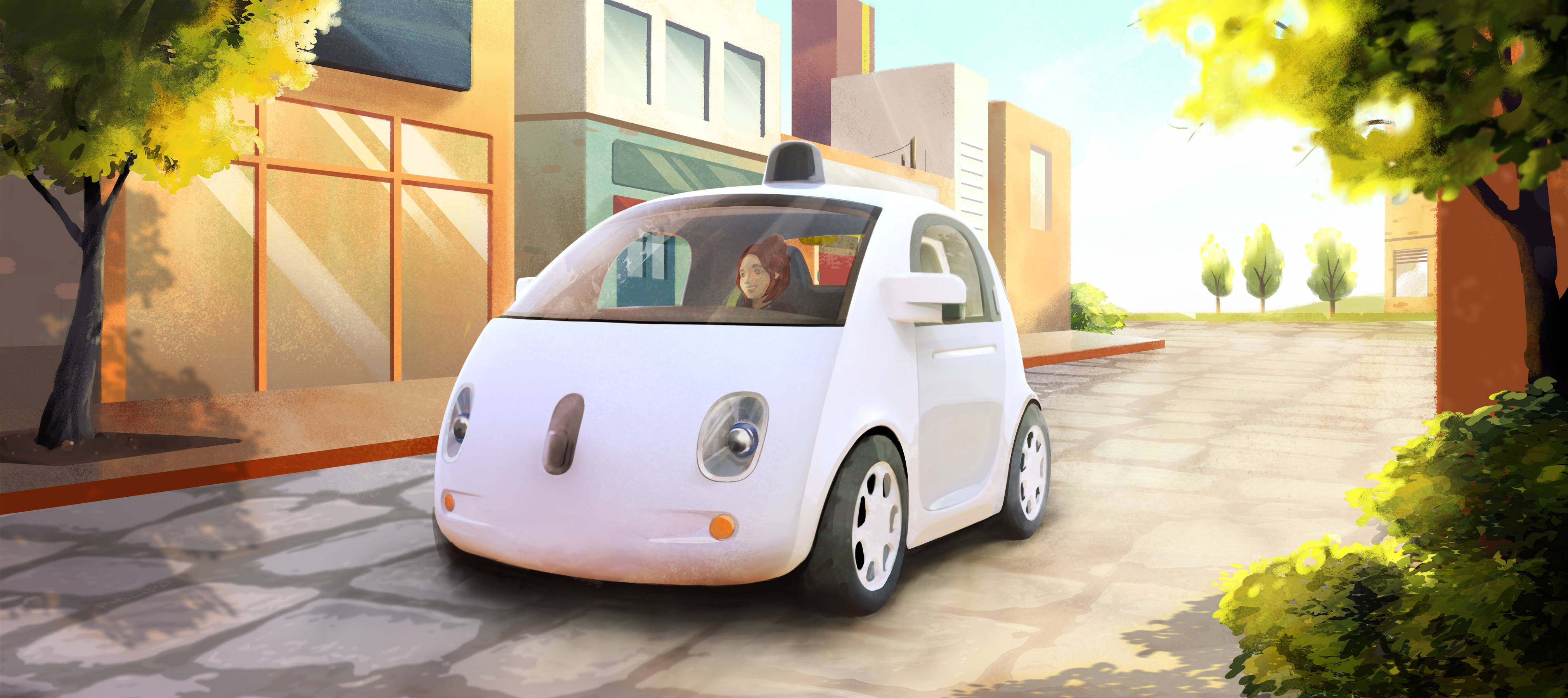 An artistic rendering of Google's self-driving car. The two-seater won't be sold publicly, but Google said it hopes by this time next year, 100 prototypes will be on public roads.