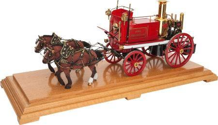 Maxwell Hemmens live steam scale model Shand Mmason twin cylinder fire appliance.