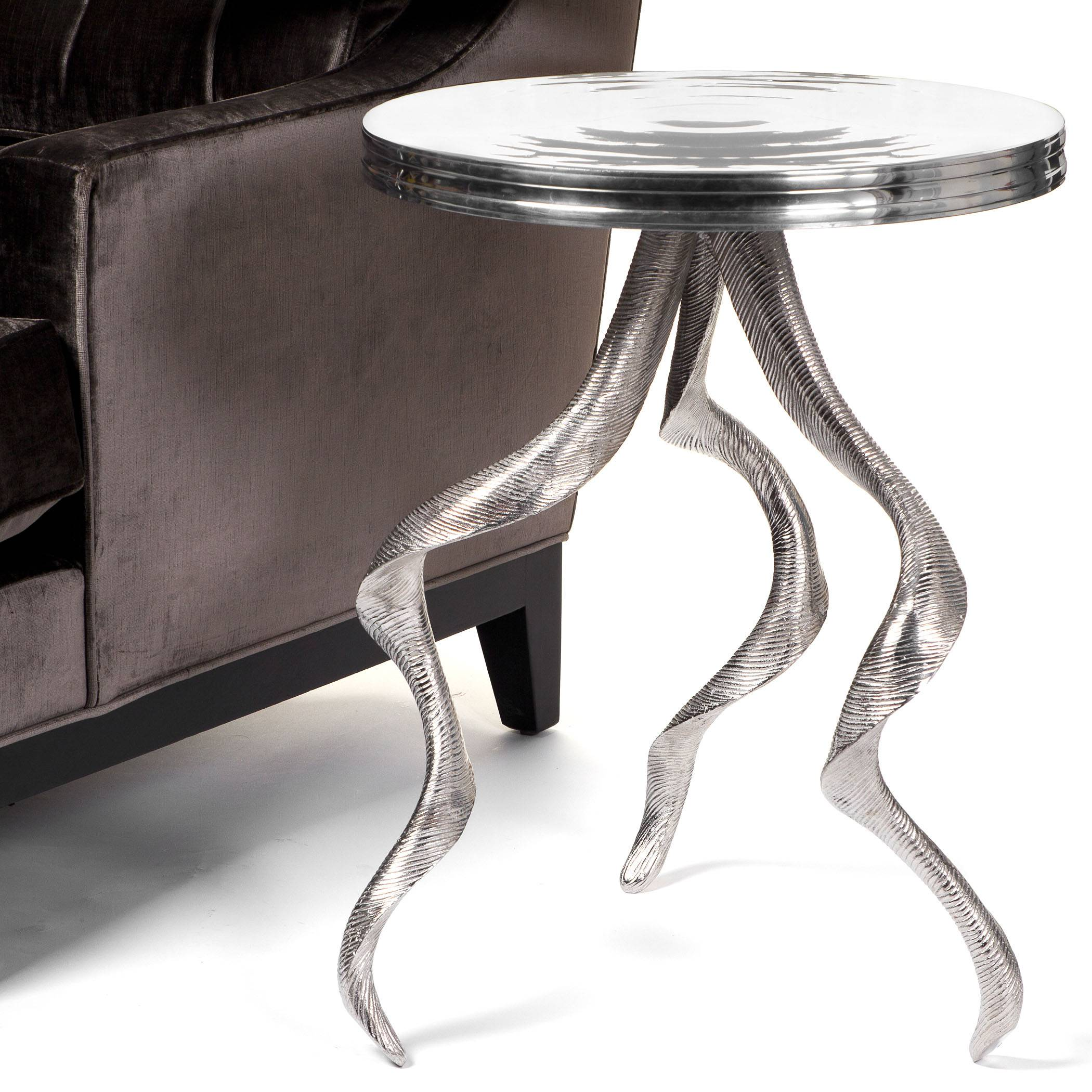 Heavy aluminum is cast into antler shapes to form the legs of an intriguing and sophisticated side table from Z Gallerie.