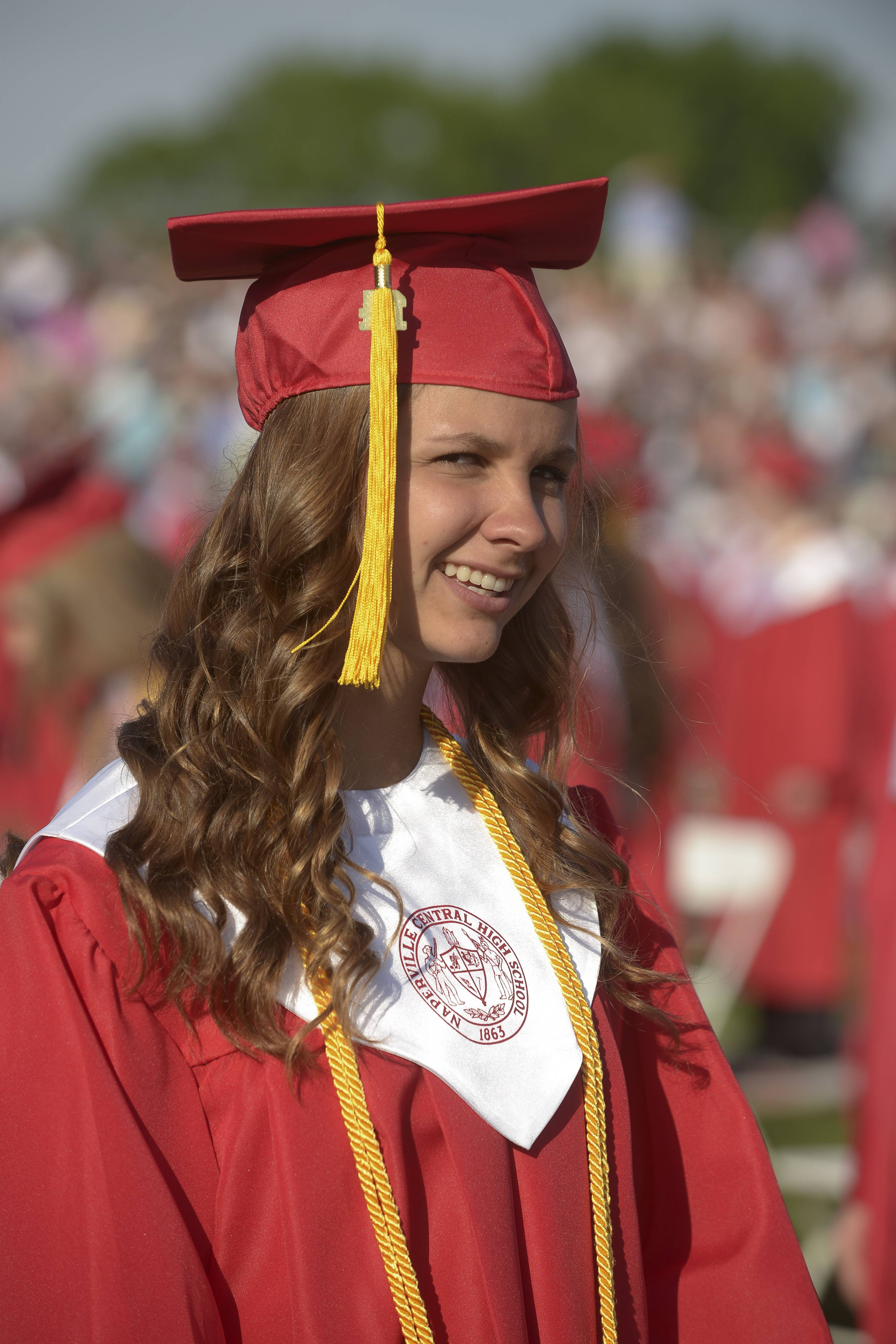 Naperville Central High School held its rain-delayed graduation Wednesday, May 28 at the school's football field.