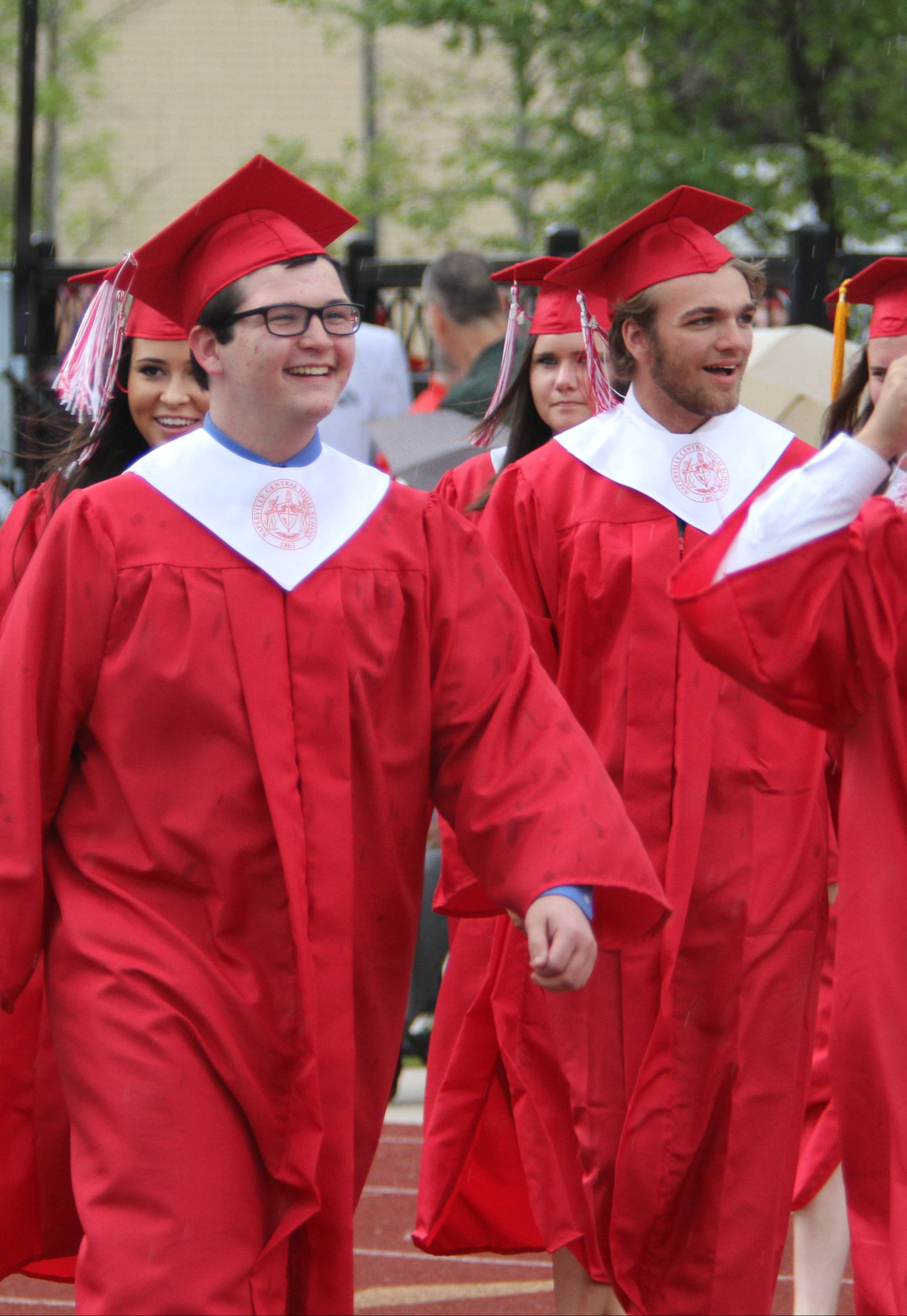 Naperville Central High School students prepared for their graduation Tuesday,  May 27.  However, after the students filed onto the field and the national anthem was sung, the proceedings were cancelled due to rain and  lightning and rescheduled for Wednesday, May 28.