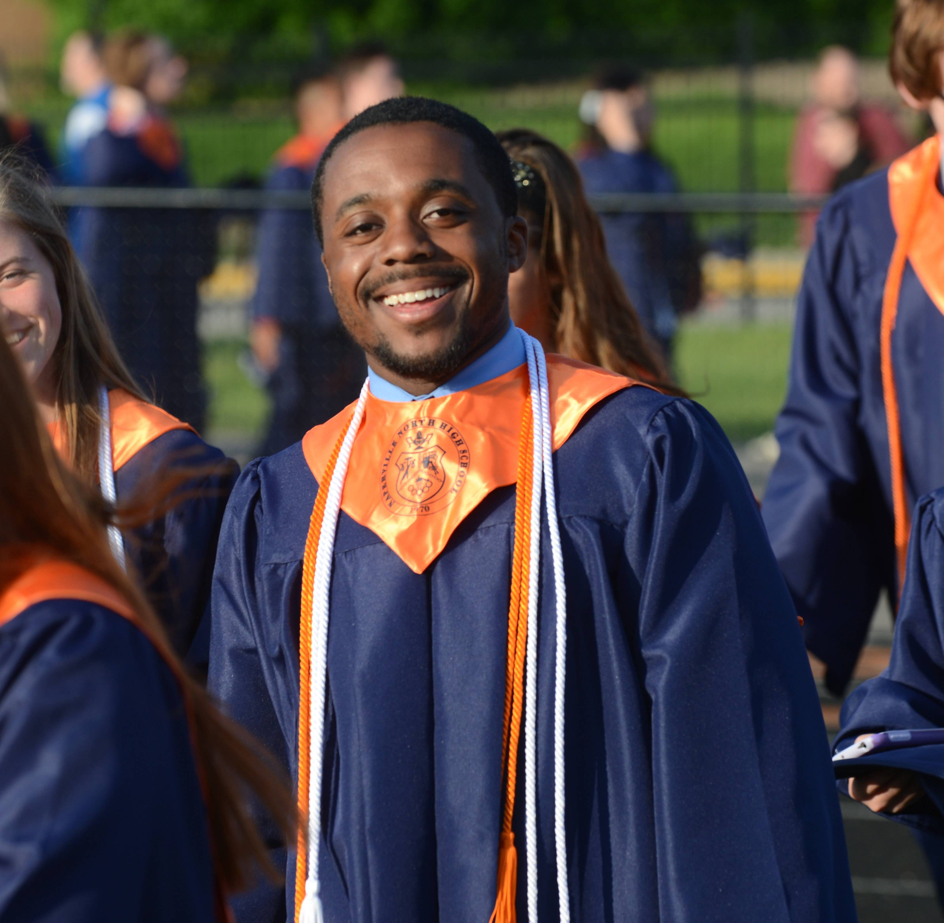 Naperville North High School held its rain-delayed graduation Wednesday, May 28 at the school's football field.
